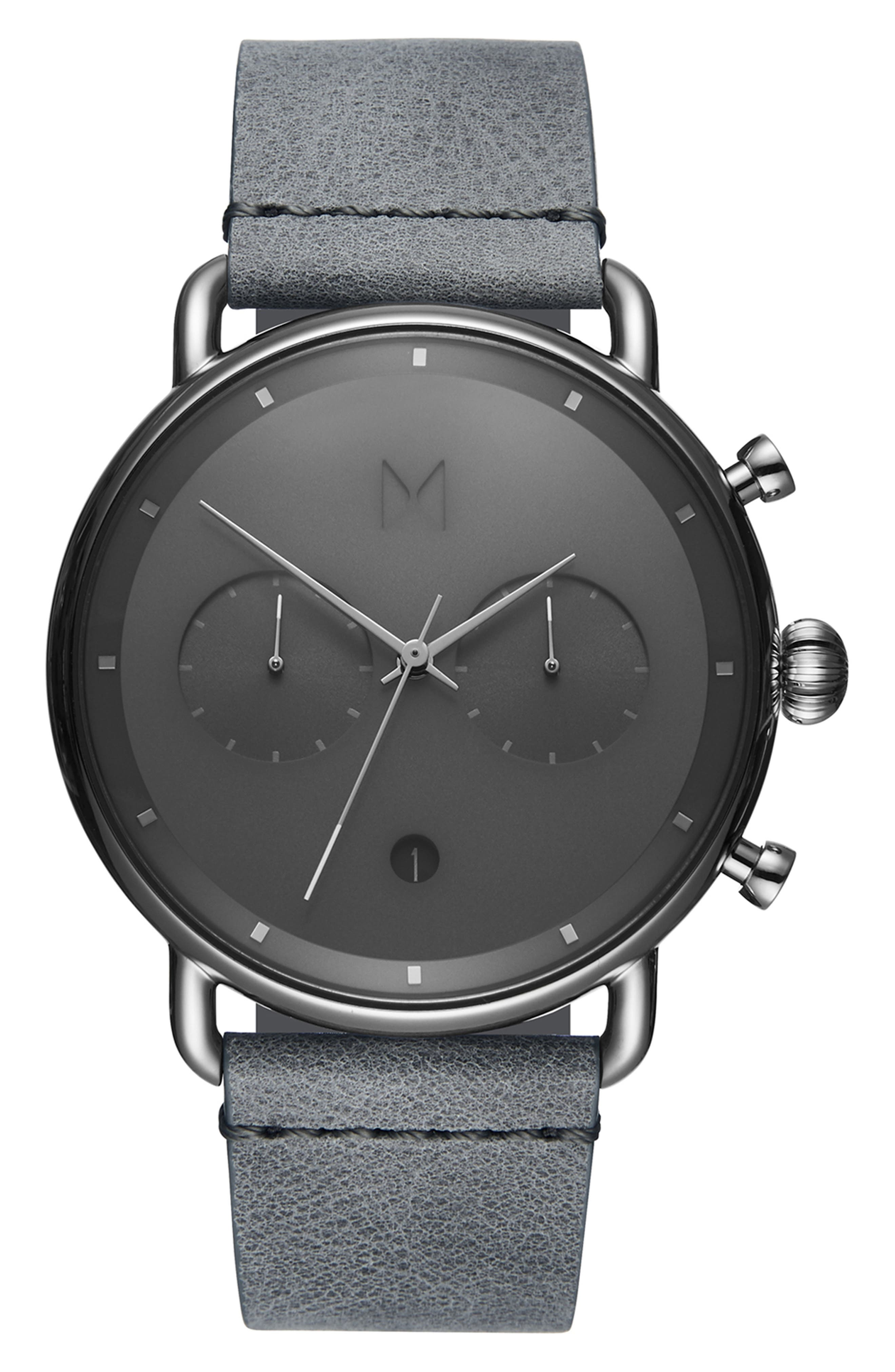 MVMT Blacktop Chronograph Leather Strap Watch, Main, color, GREY/ GREY