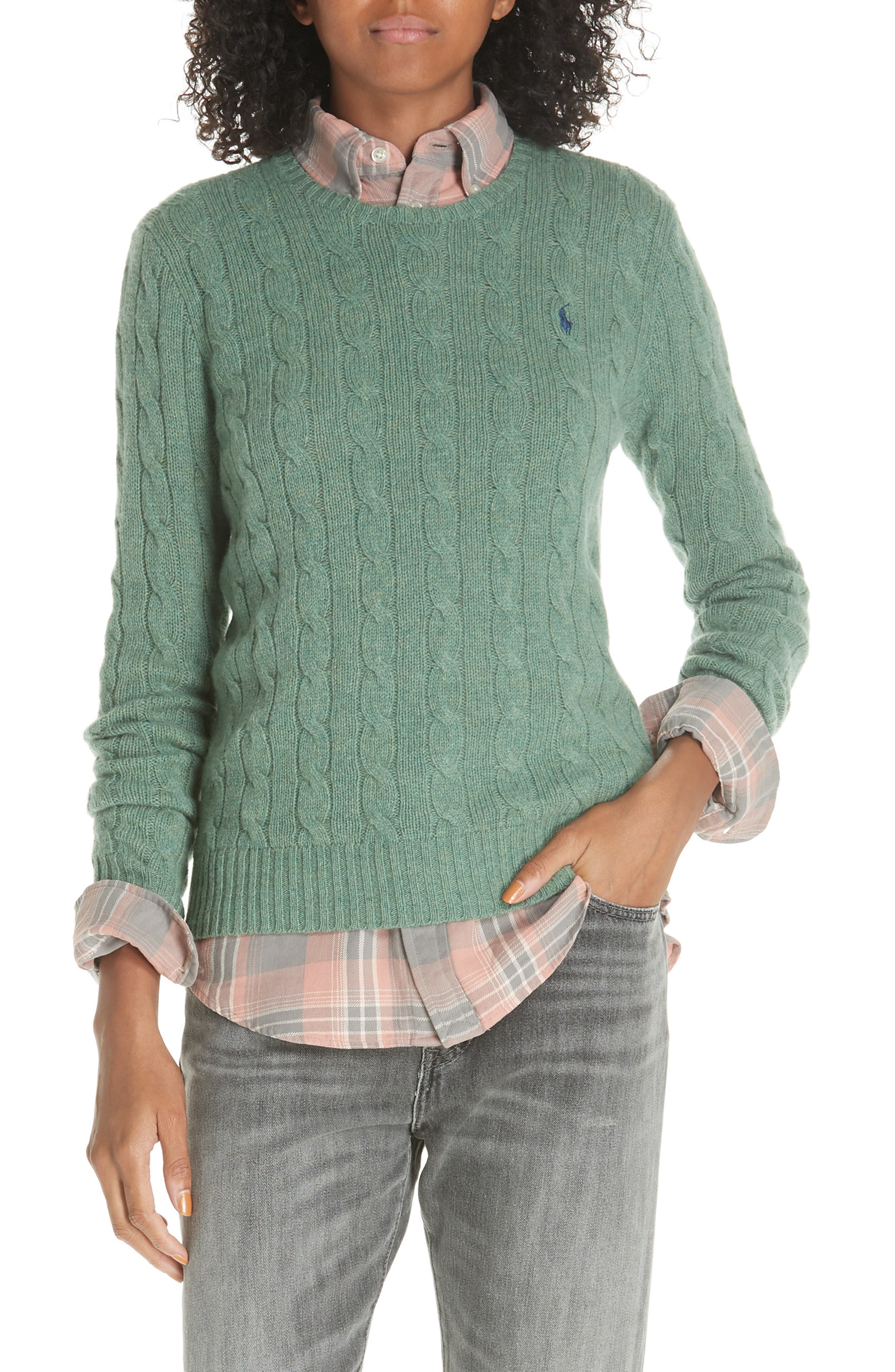 POLO RALPH LAUREN, Cable Knit Cotton Sweater, Main thumbnail 1, color, 300