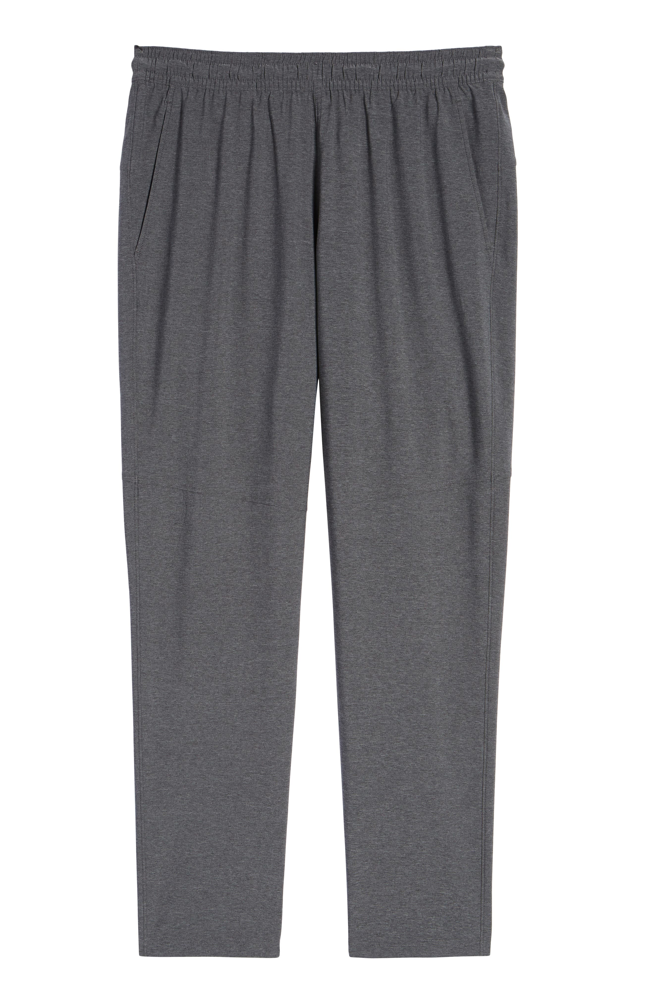 ZELLA, Tapered Stretch Track Pants, Alternate thumbnail 7, color, GREY OBSIDIAN MELANGE