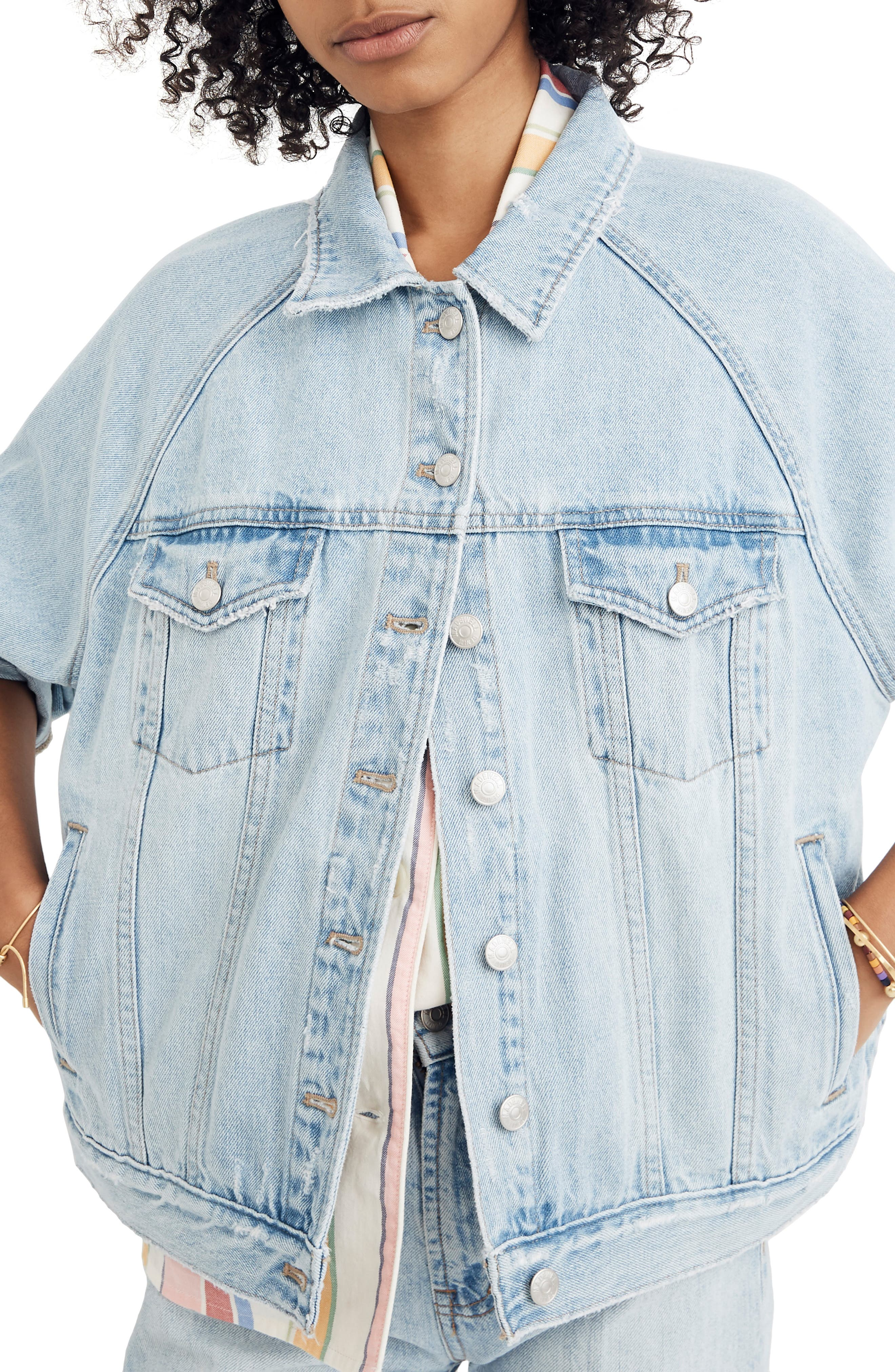 MADEWELL, The Raglan Oversize Jean Jacket, Main thumbnail 1, color, BRISTOL