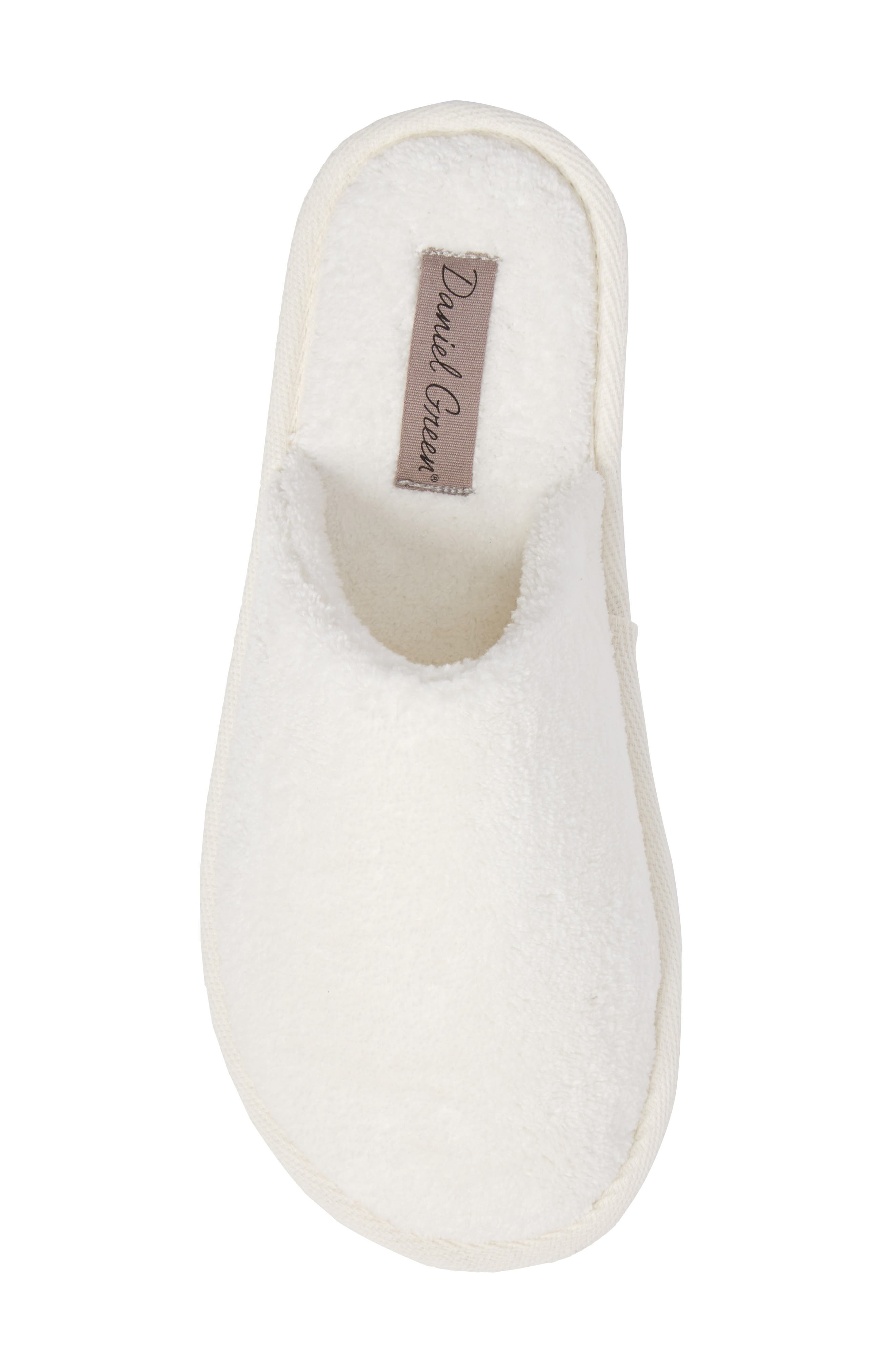 DANIEL GREEN, Rave II Slipper, Alternate thumbnail 5, color, WHITE FABRIC