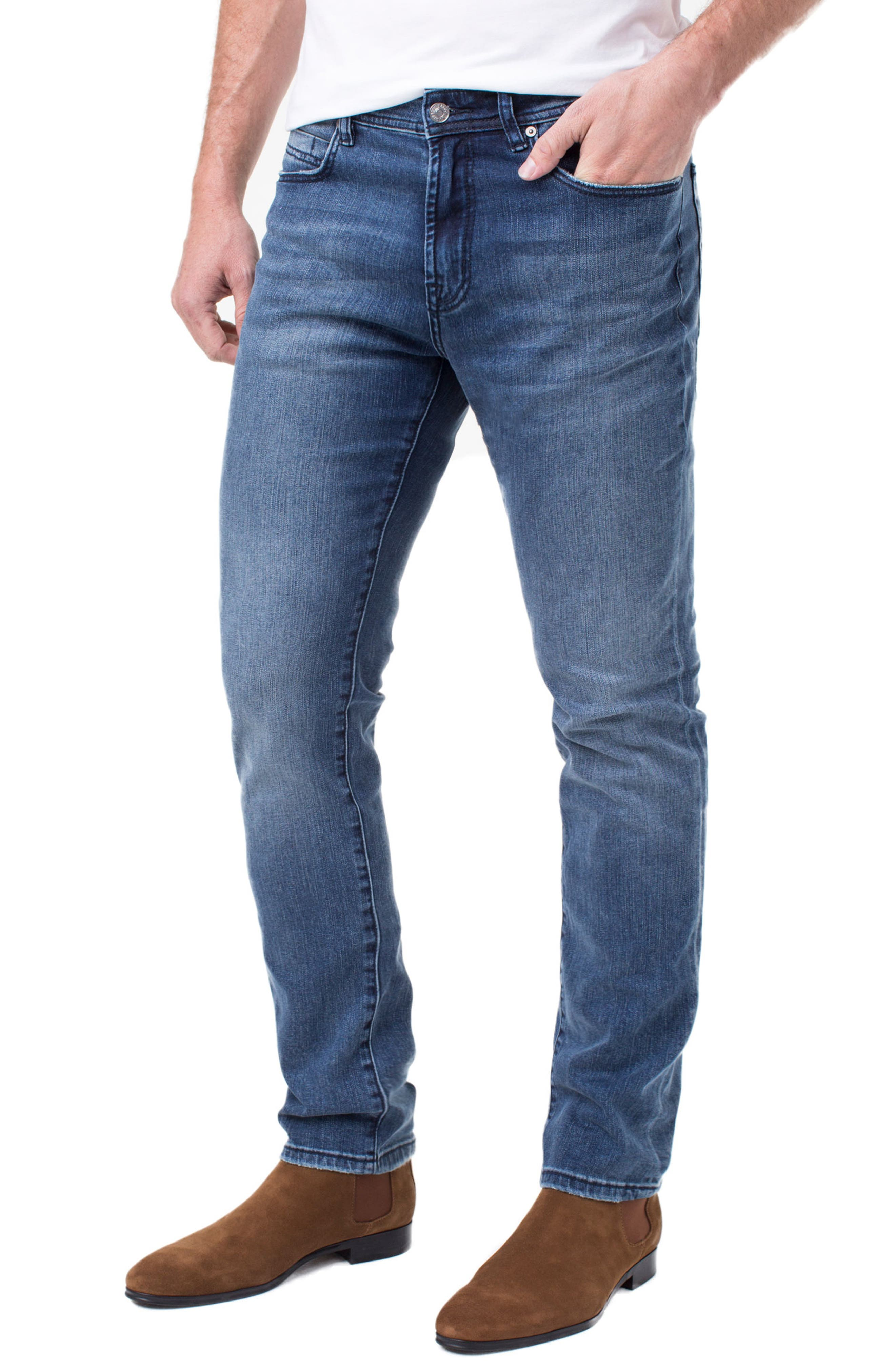 LIVERPOOL, Regent Relaxed Straight Leg Jeans, Main thumbnail 1, color, SOUTHAVEN MID B