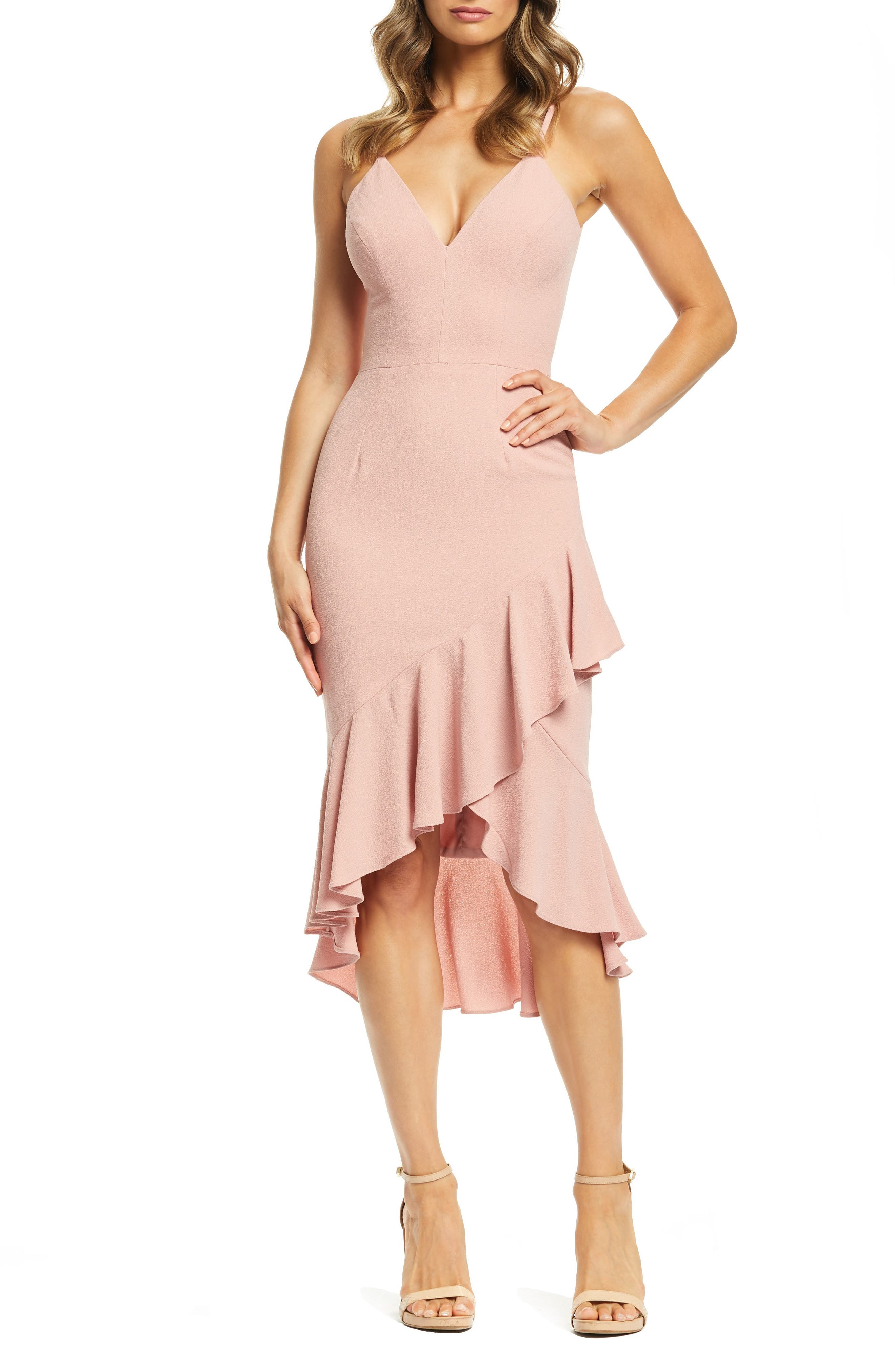 Dress The Population Wendy High/low Ruffle Cocktail Dress, Pink