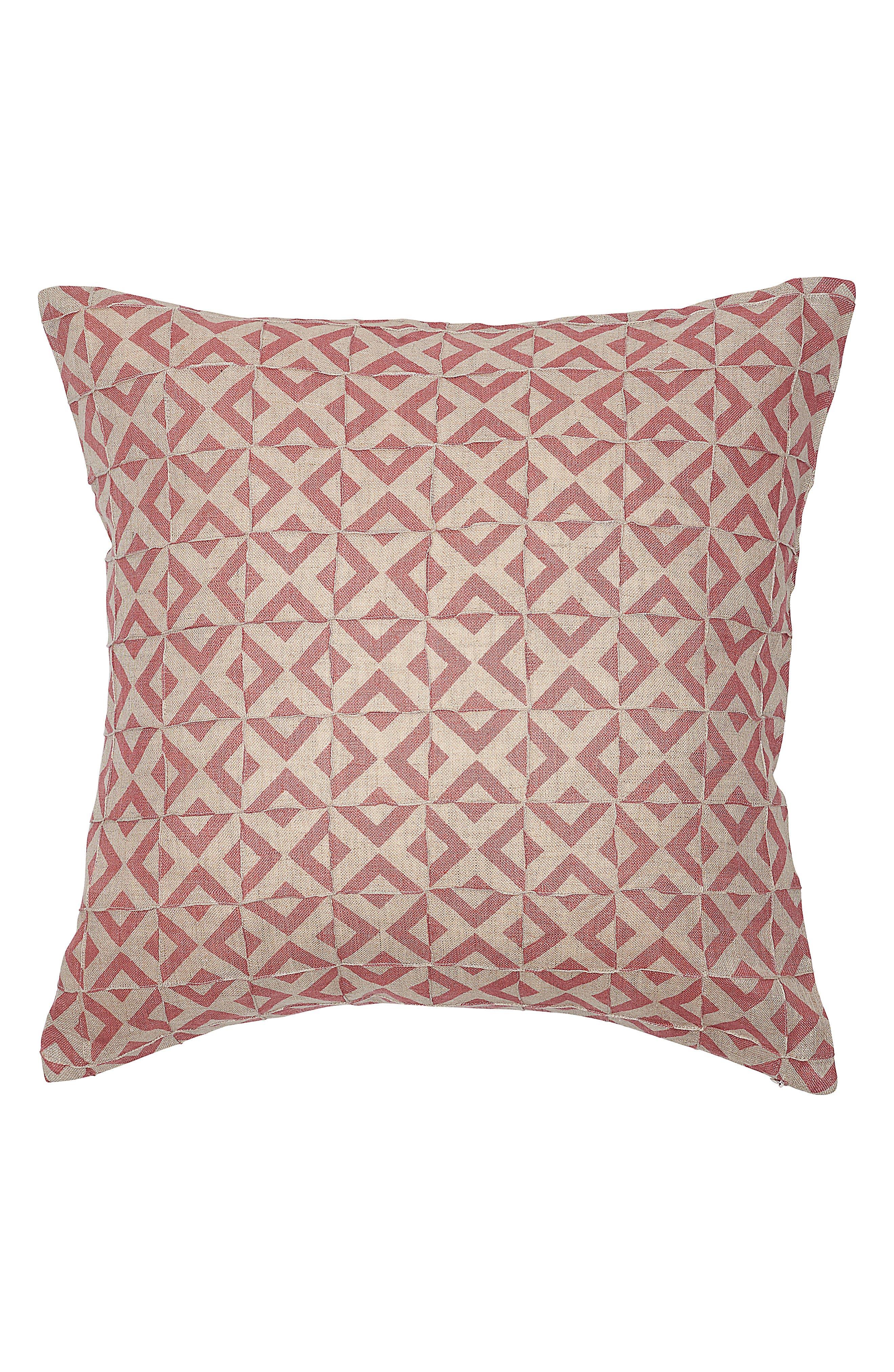 EADIE LIFESTYLE, Surrey Pintuck Linen Accent Pillow, Main thumbnail 1, color, DUSTY ROSE MULTI