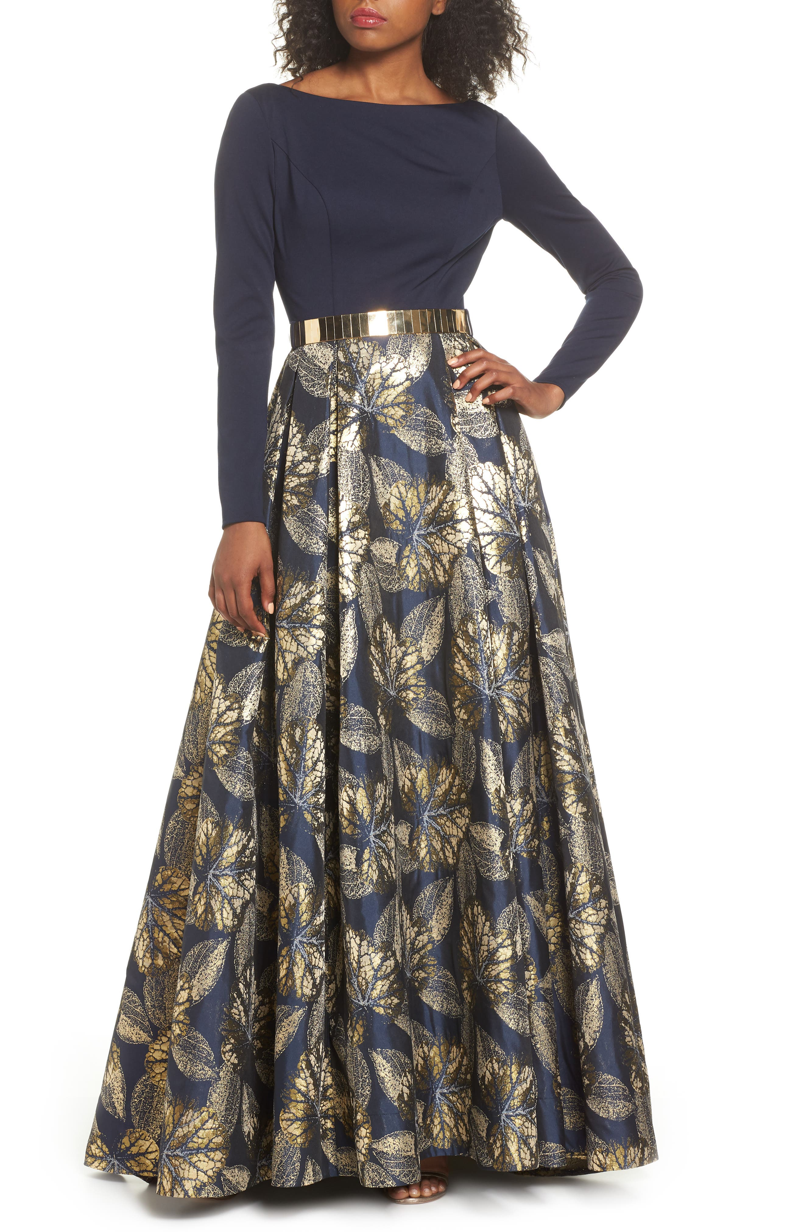 IEENA FOR MAC DUGGAL, Mac Duggal Long Sleeve Metallic Waist Print Gown, Main thumbnail 1, color, NAVY GOLD