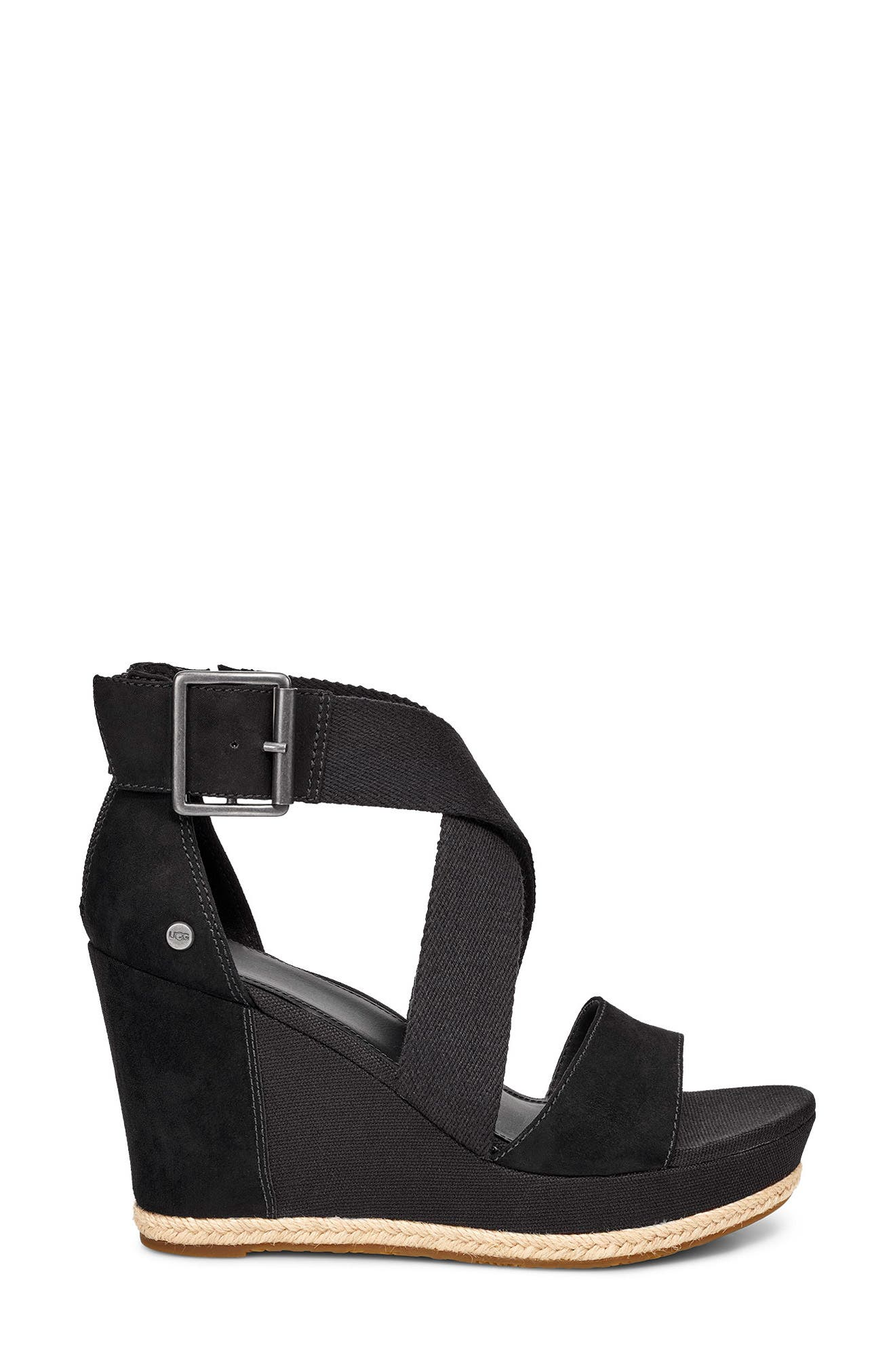 UGG<SUP>®</SUP>, Calla Wedge Sandal, Alternate thumbnail 3, color, BLACK FABRIC