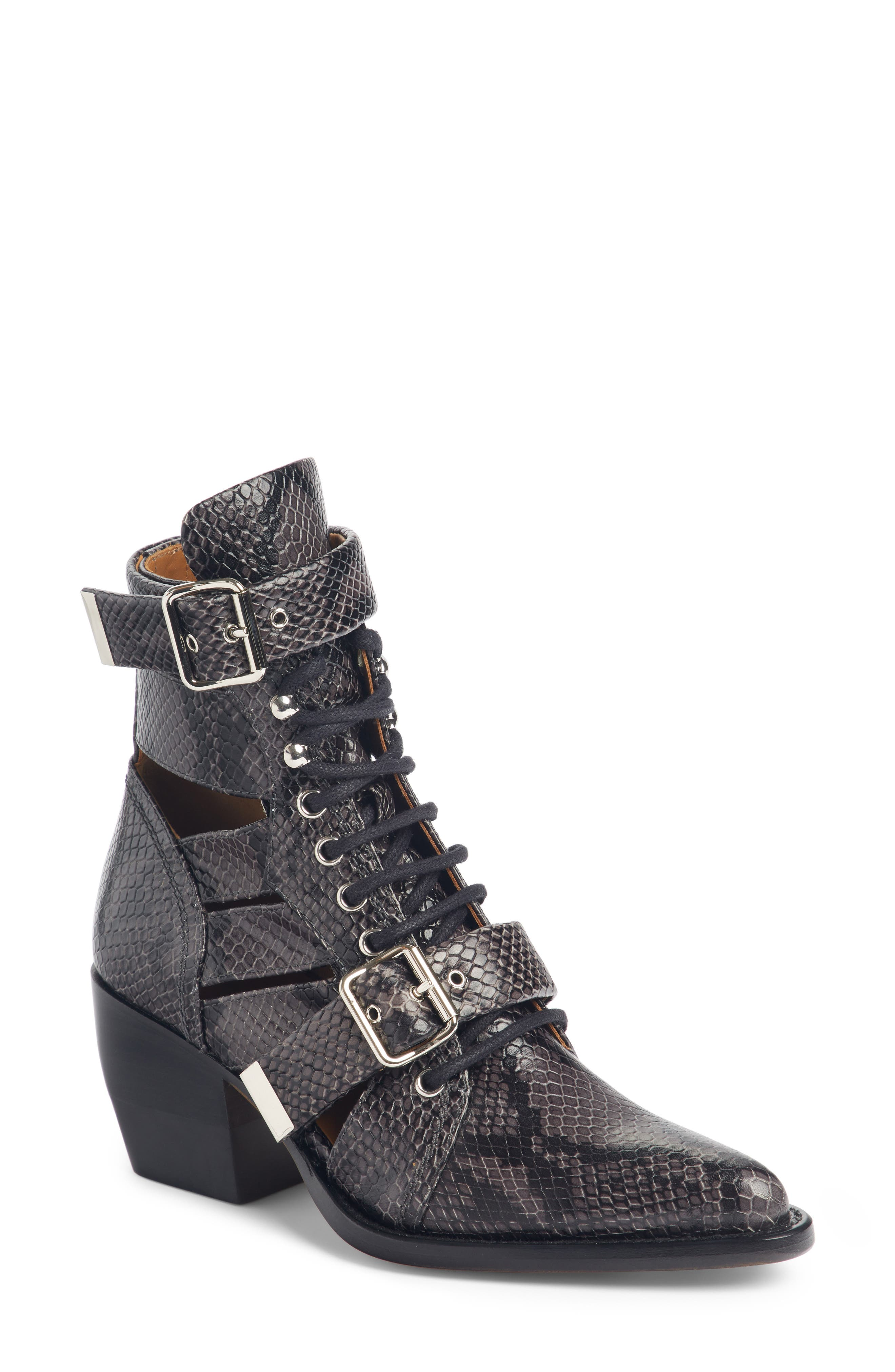 CHLOÉ Rylee Caged Pointy Toe Boot, Main, color, CHARCOAL BLACK