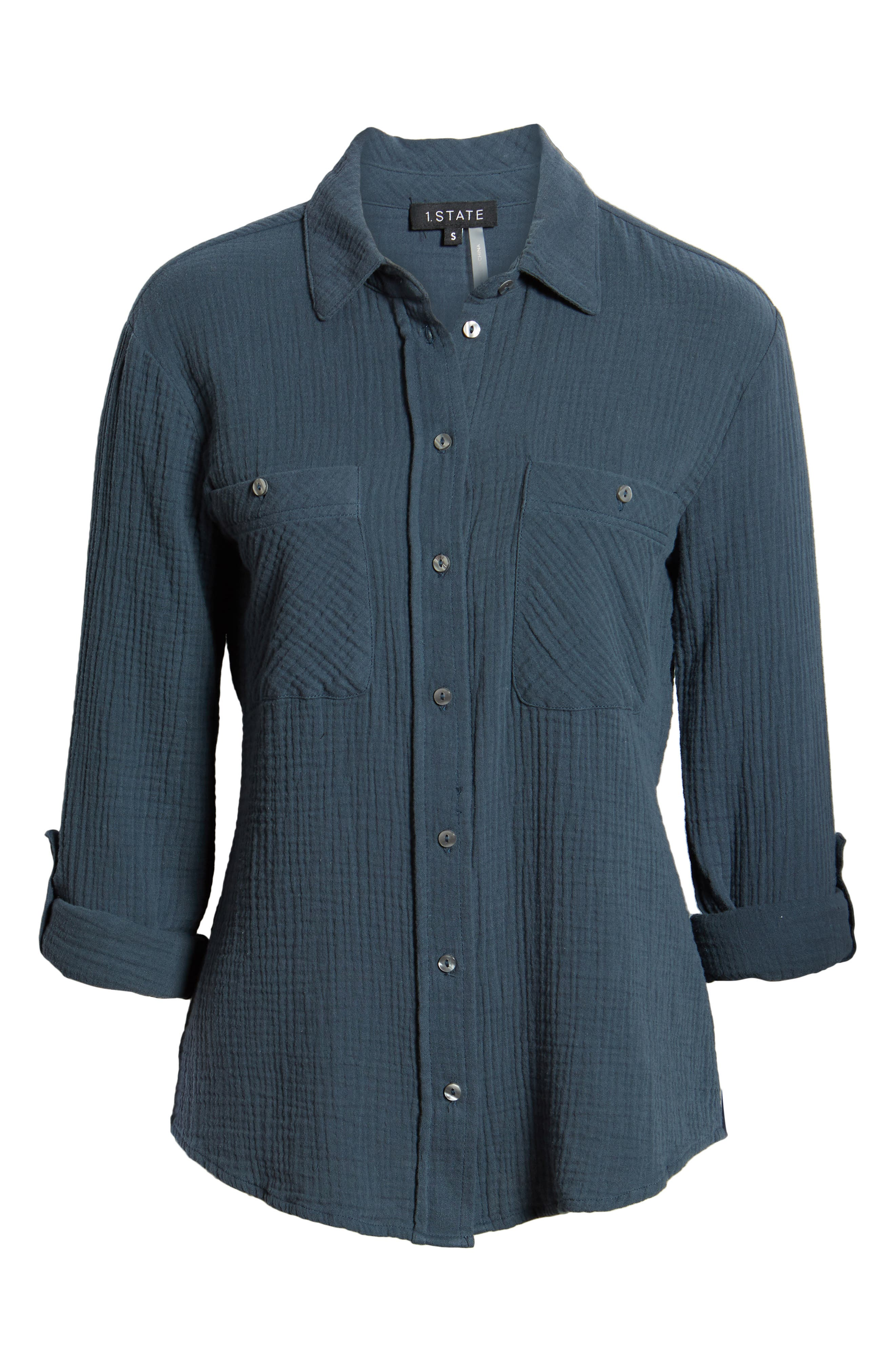 1.STATE, Patch Pocket Gauze Top, Alternate thumbnail 6, color, MIDNIGHT SKY