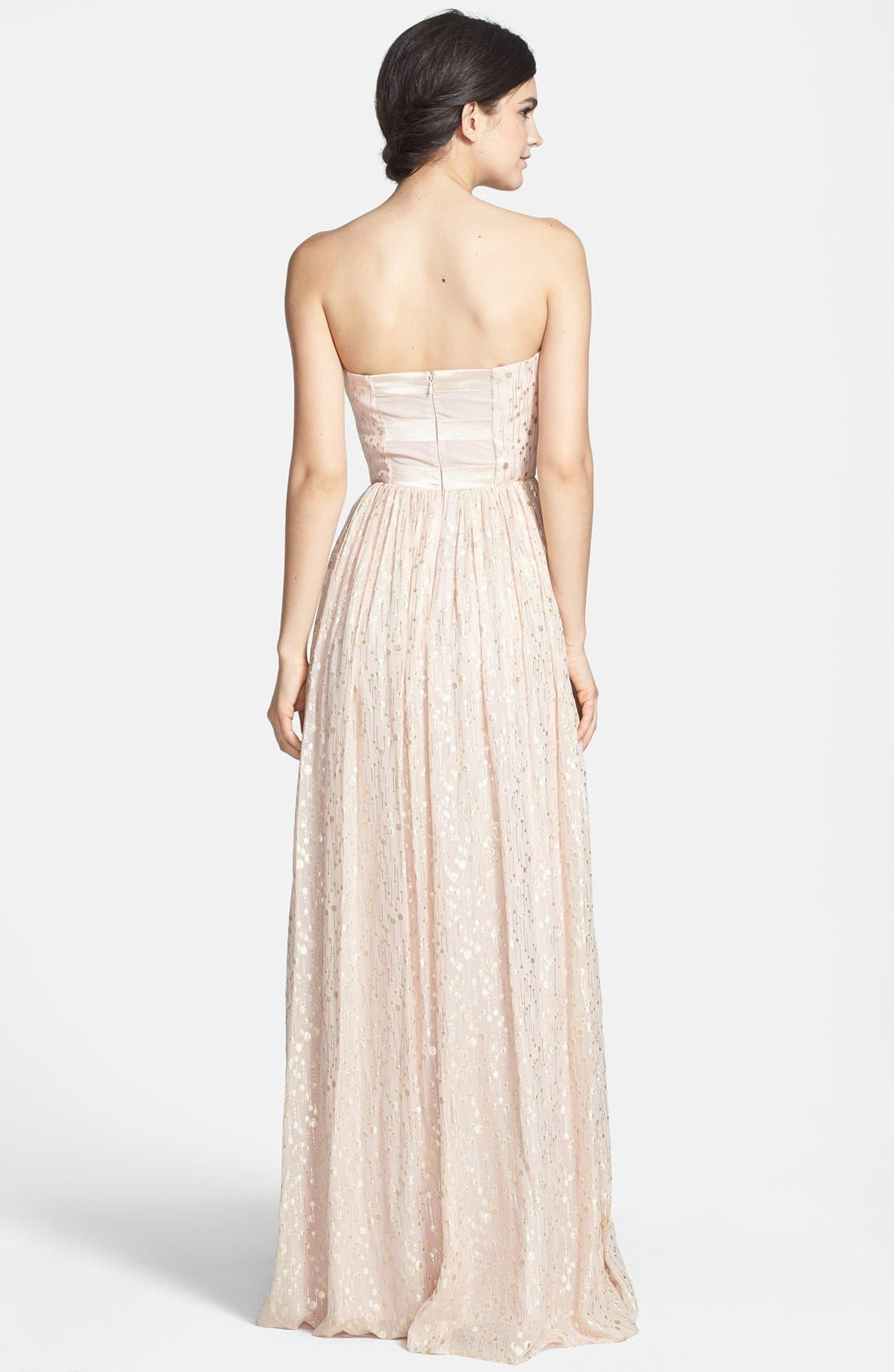 ERIN ERIN FETHERSTON, 'Coralie' Foiled Silk Chiffon Gown, Alternate thumbnail 3, color, 689