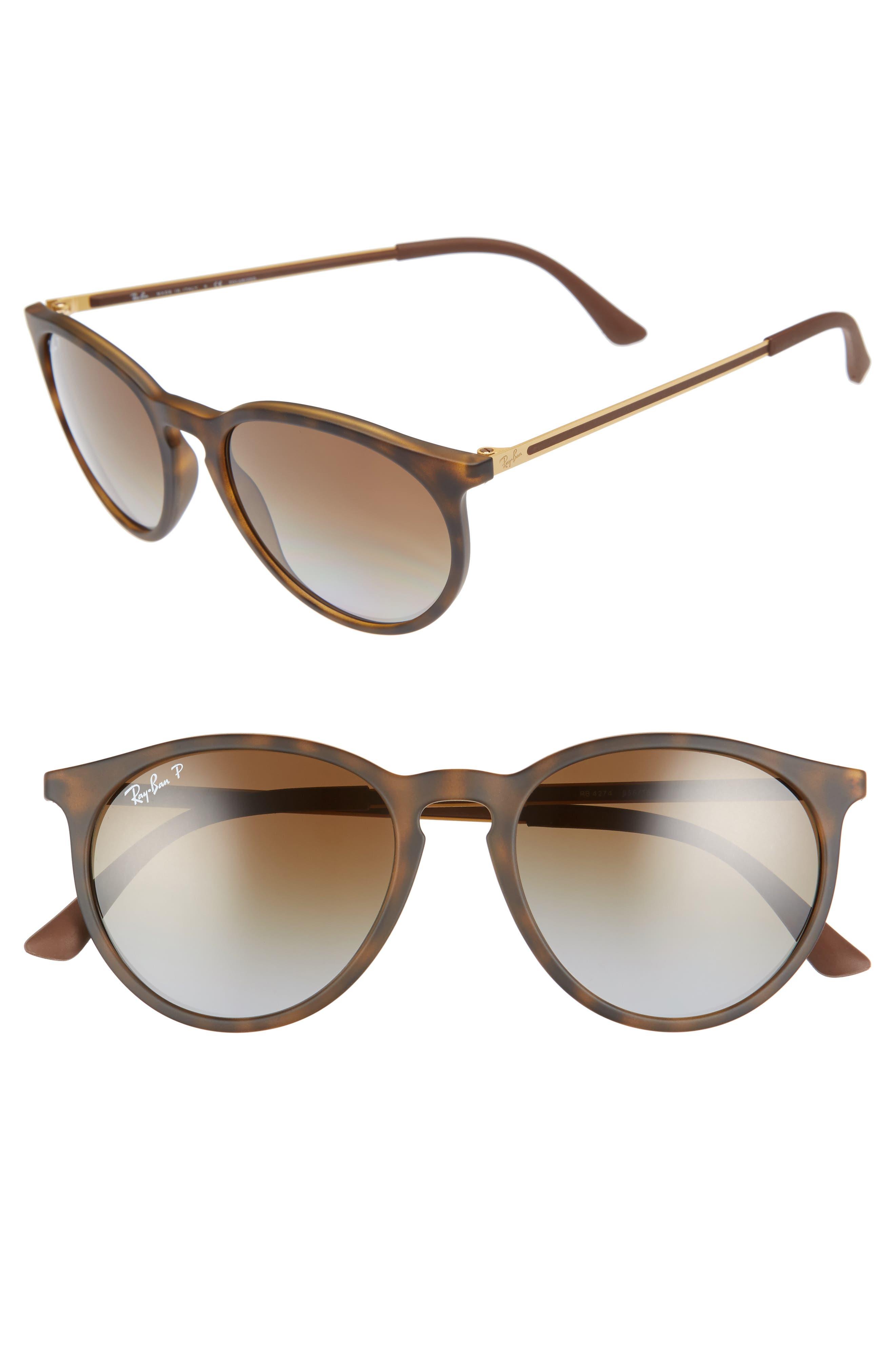 RAY-BAN, 53mm Polarized Round Sunglasses, Main thumbnail 1, color, BROWN/ GREY POLAR