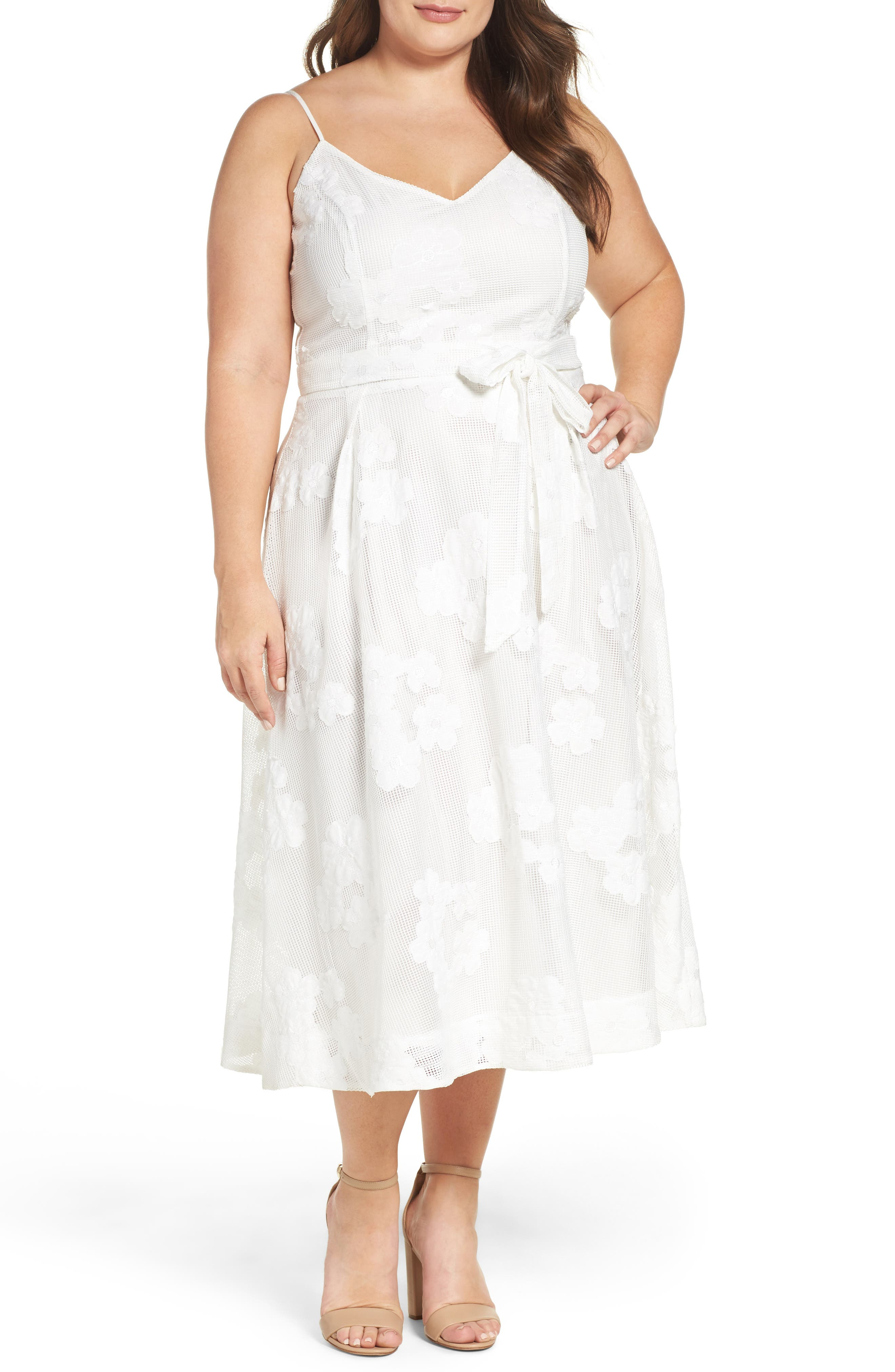 CITY CHIC Mesh Floral Sundress, Main, color, IVORY