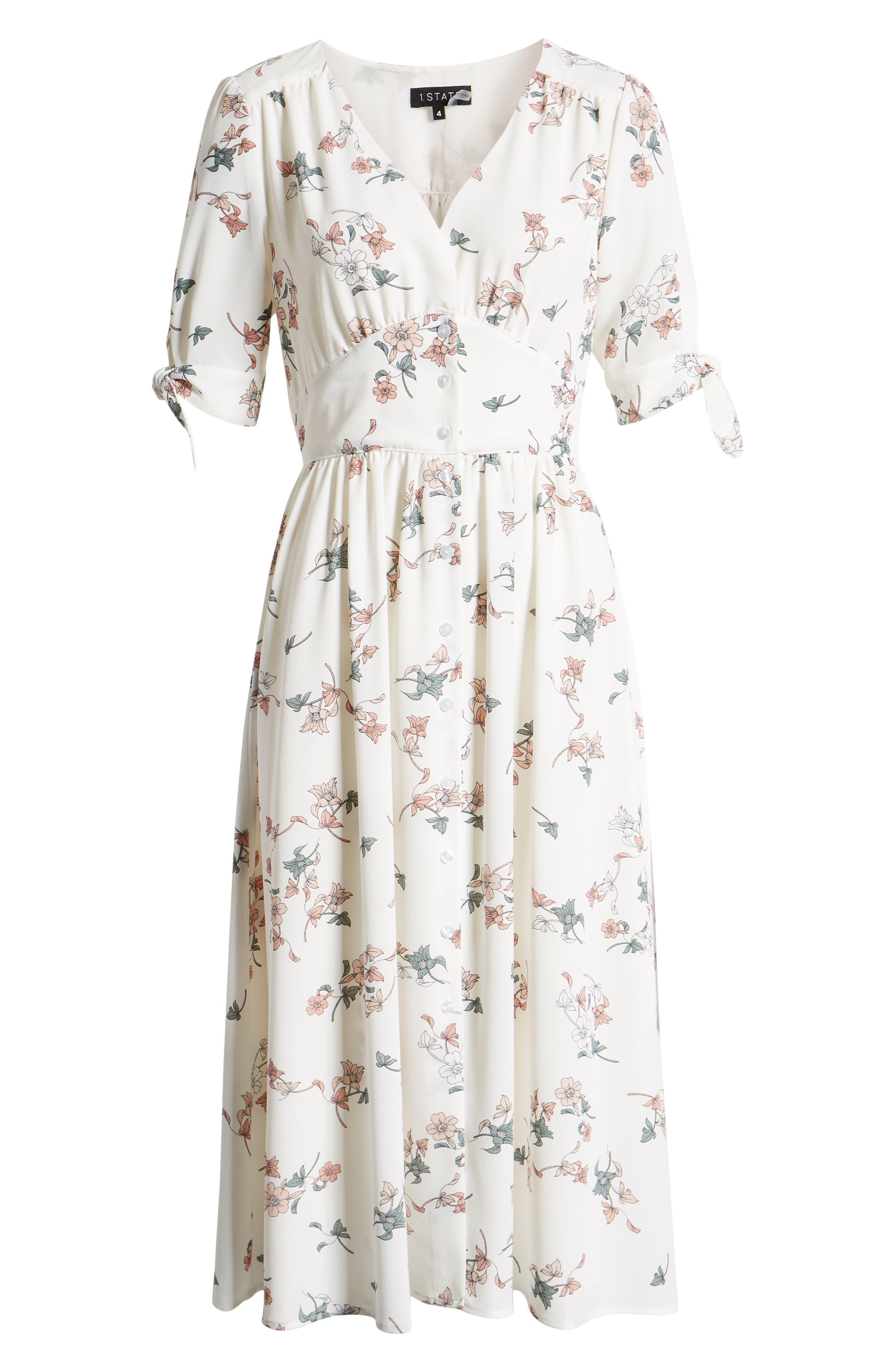 1.STATE, Floral Belle Tie Sleeve Midi Dress, Alternate thumbnail 7, color, 100