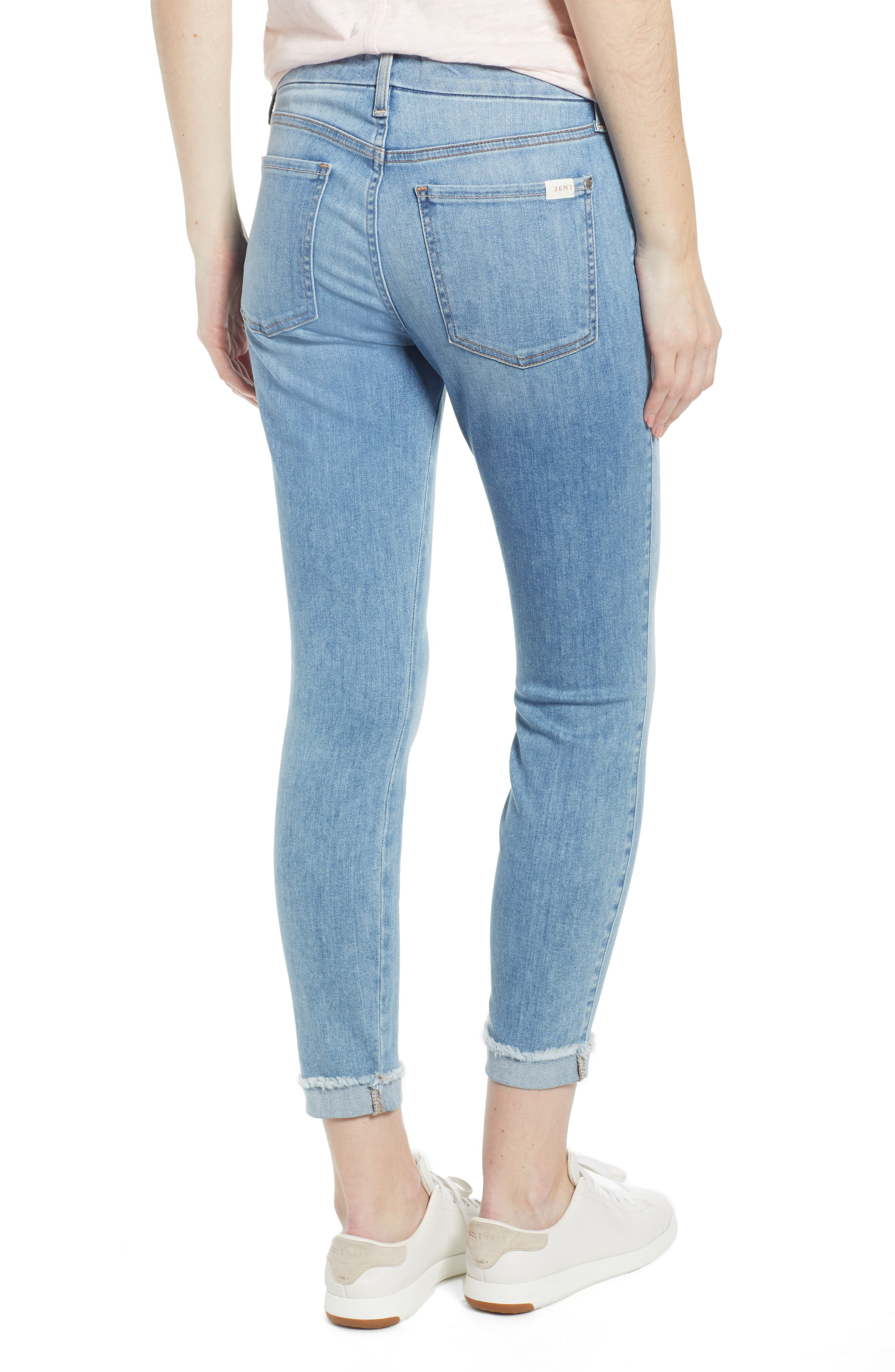JEN7 BY 7 FOR ALL MANKIND, Cuffed Crop Skinny Jeans, Alternate thumbnail 2, color, LA QUINTA
