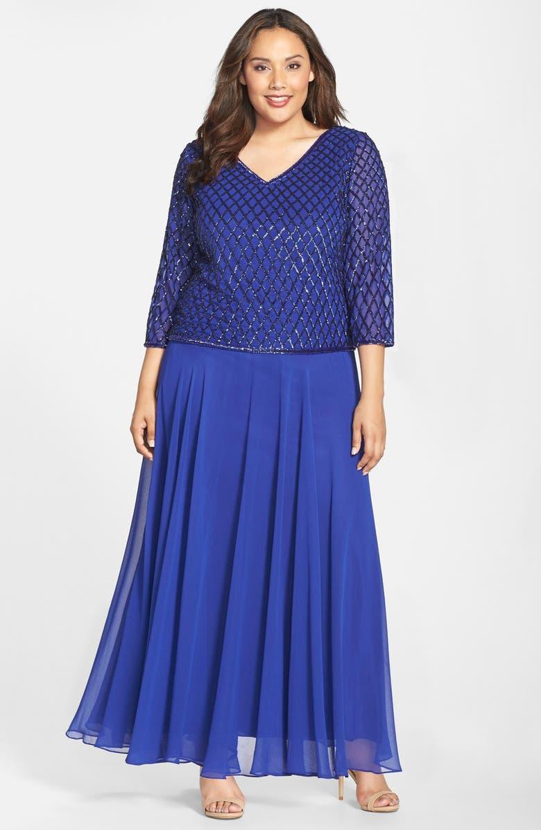 9ba3b65c3f4 J Kara Embellished V-Neck Mock Two-Piece Gown (Plus Size) | Nordstrom