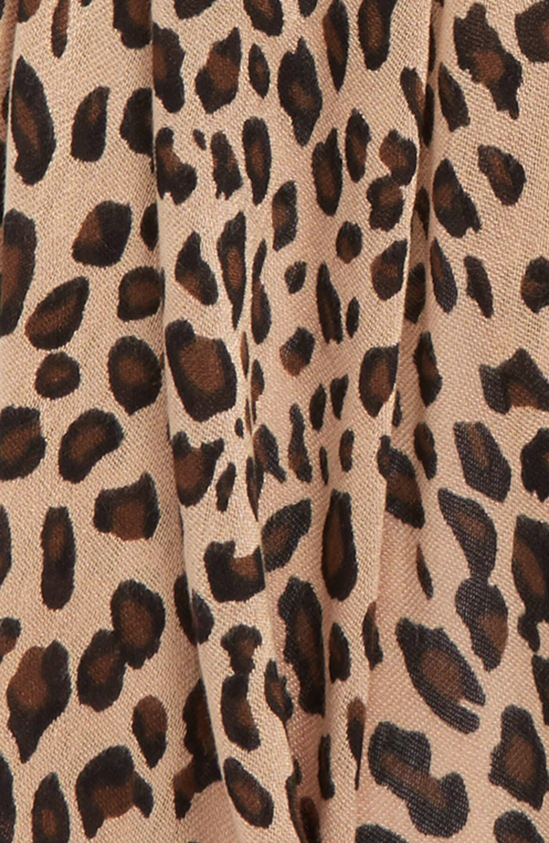 SOLE SOCIETY, Leopard Print Scarf, Alternate thumbnail 3, color, BROWN