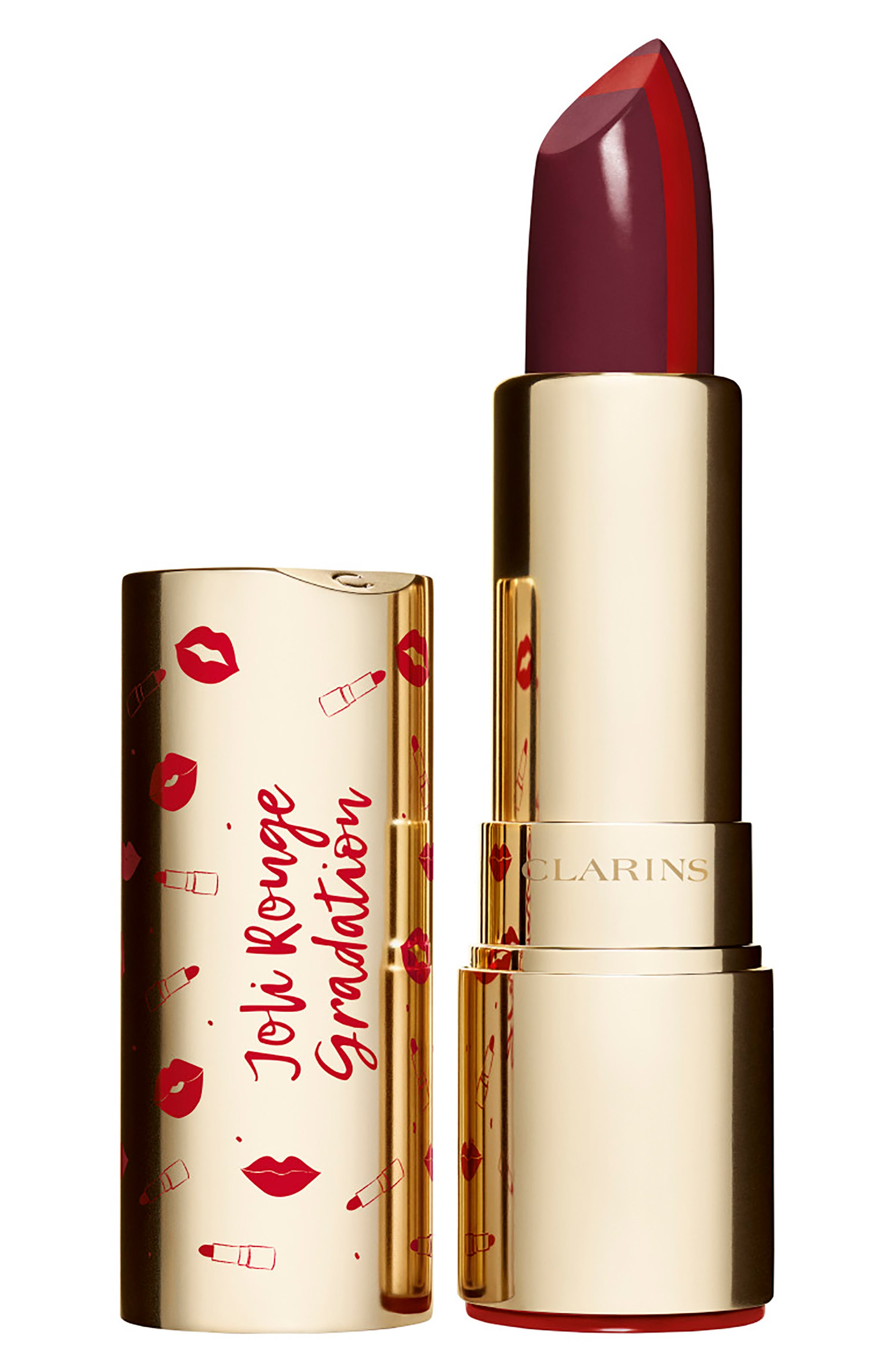 CLARINS, Joli Rouge Gradation Lipstick, Main thumbnail 1, color, 754 DEEP RED/738 PLUM