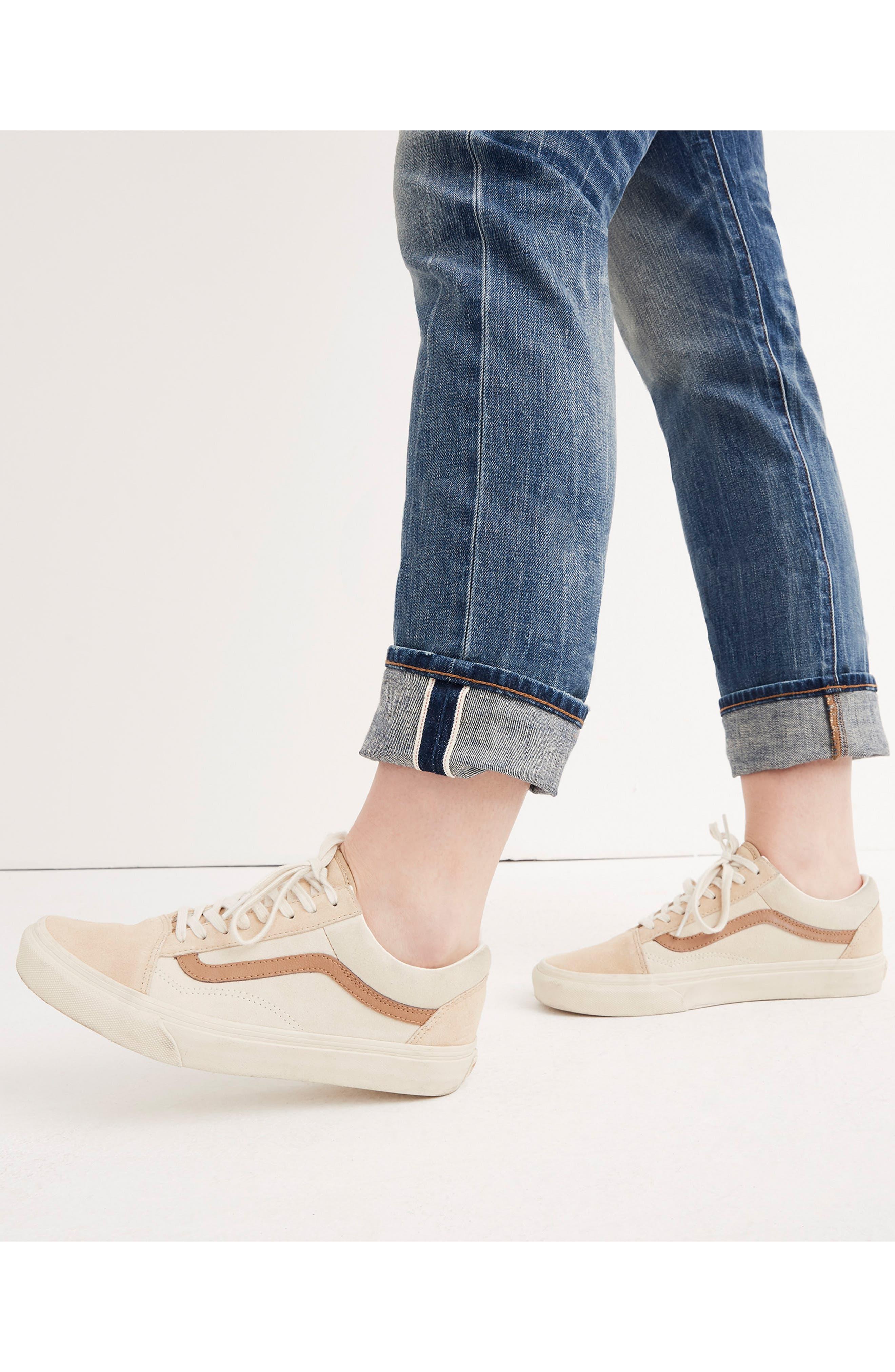 MADEWELL, Selvedge Distressed Straight Leg Jeans, Alternate thumbnail 7, color, CLOVERDALE