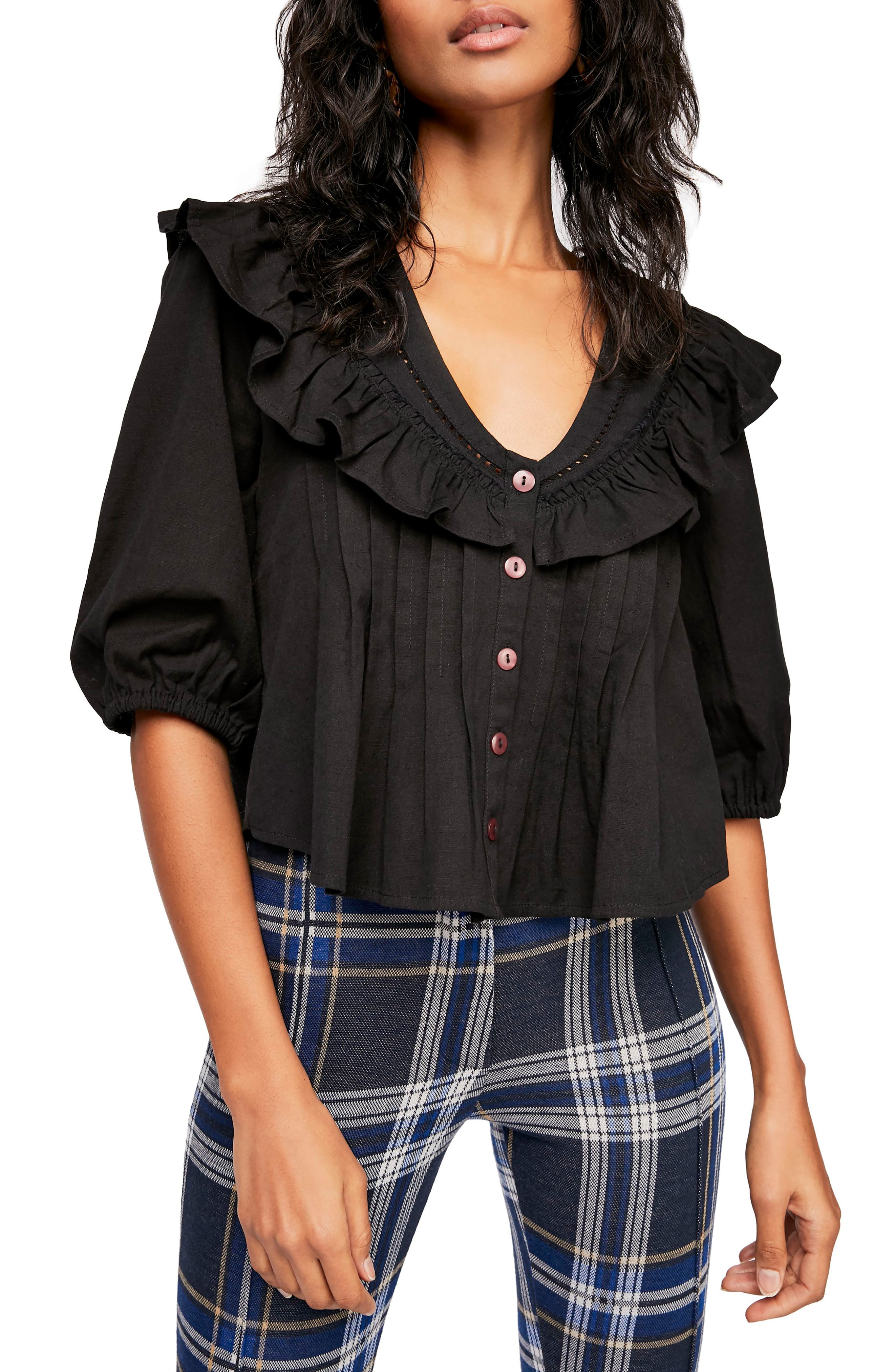 FREE PEOPLE, Endless Summer by Free People Sylvia Cotton Ruffle Blouse, Main thumbnail 1, color, BLACK
