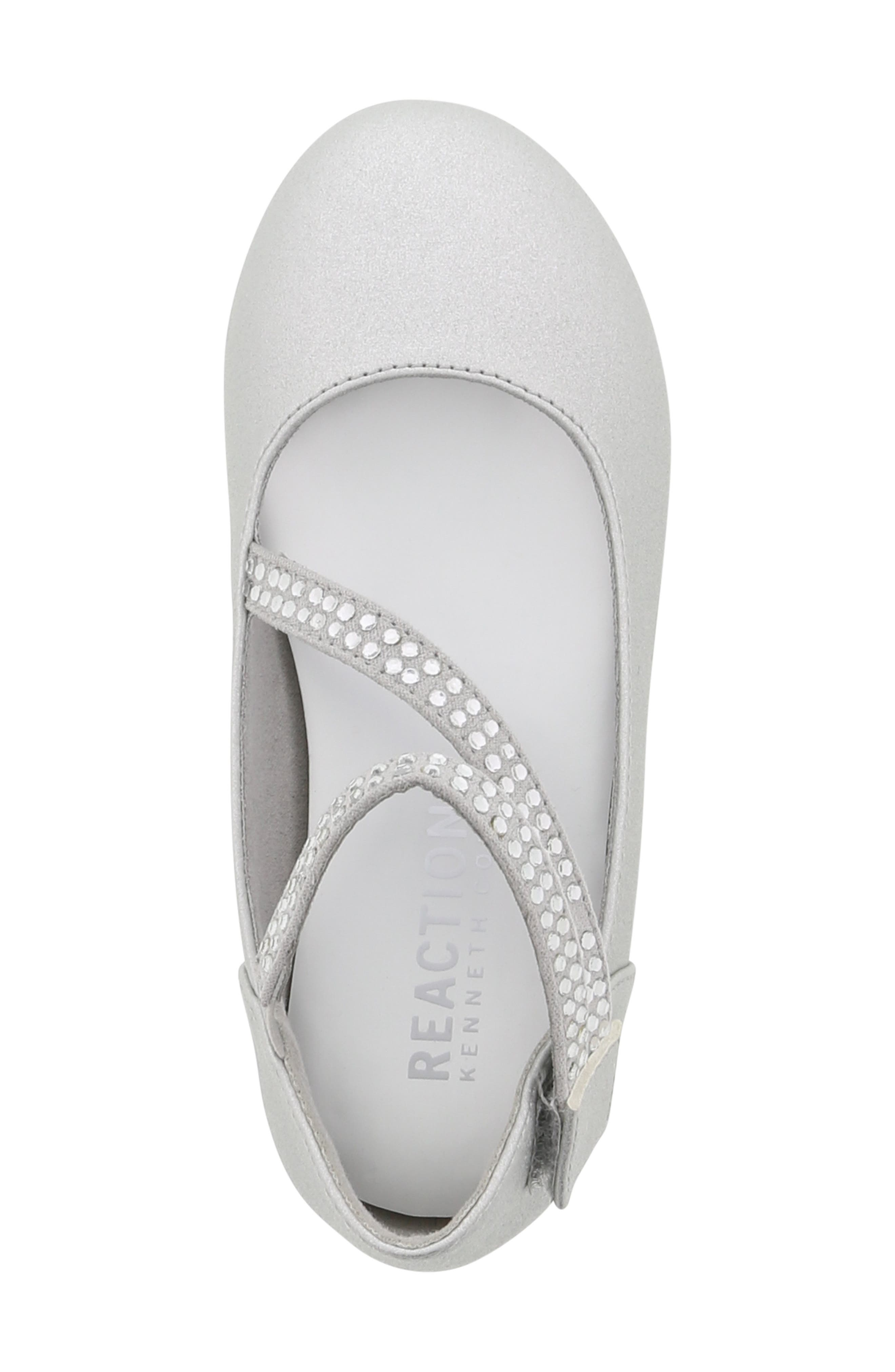 REACTION KENNETH COLE, Tap Lily-T Embellished Flat, Alternate thumbnail 5, color, SILVER