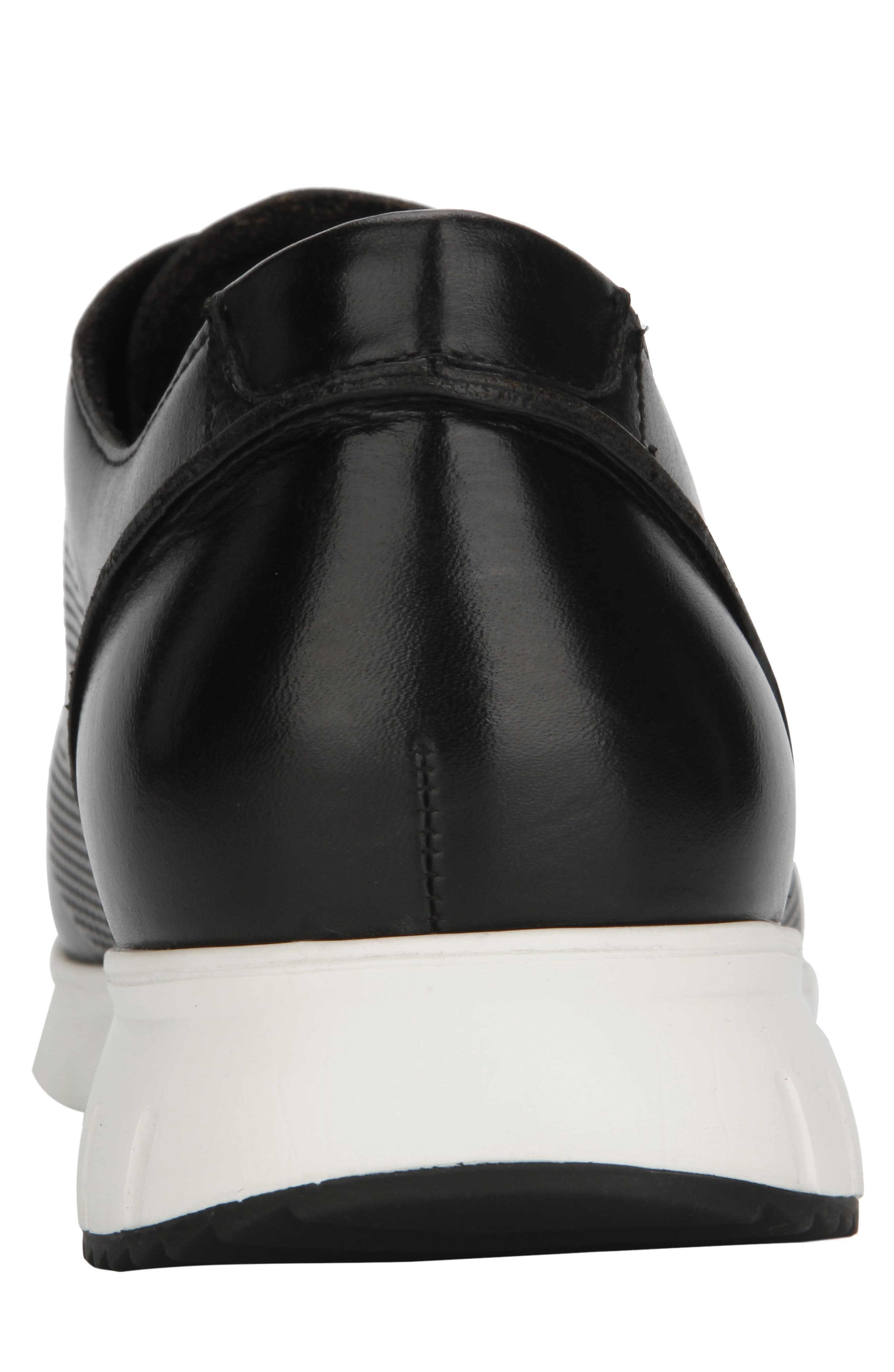 KENNETH COLE NEW YORK, Bailey Sneaker, Alternate thumbnail 5, color, BLACK LASERED LEATHER