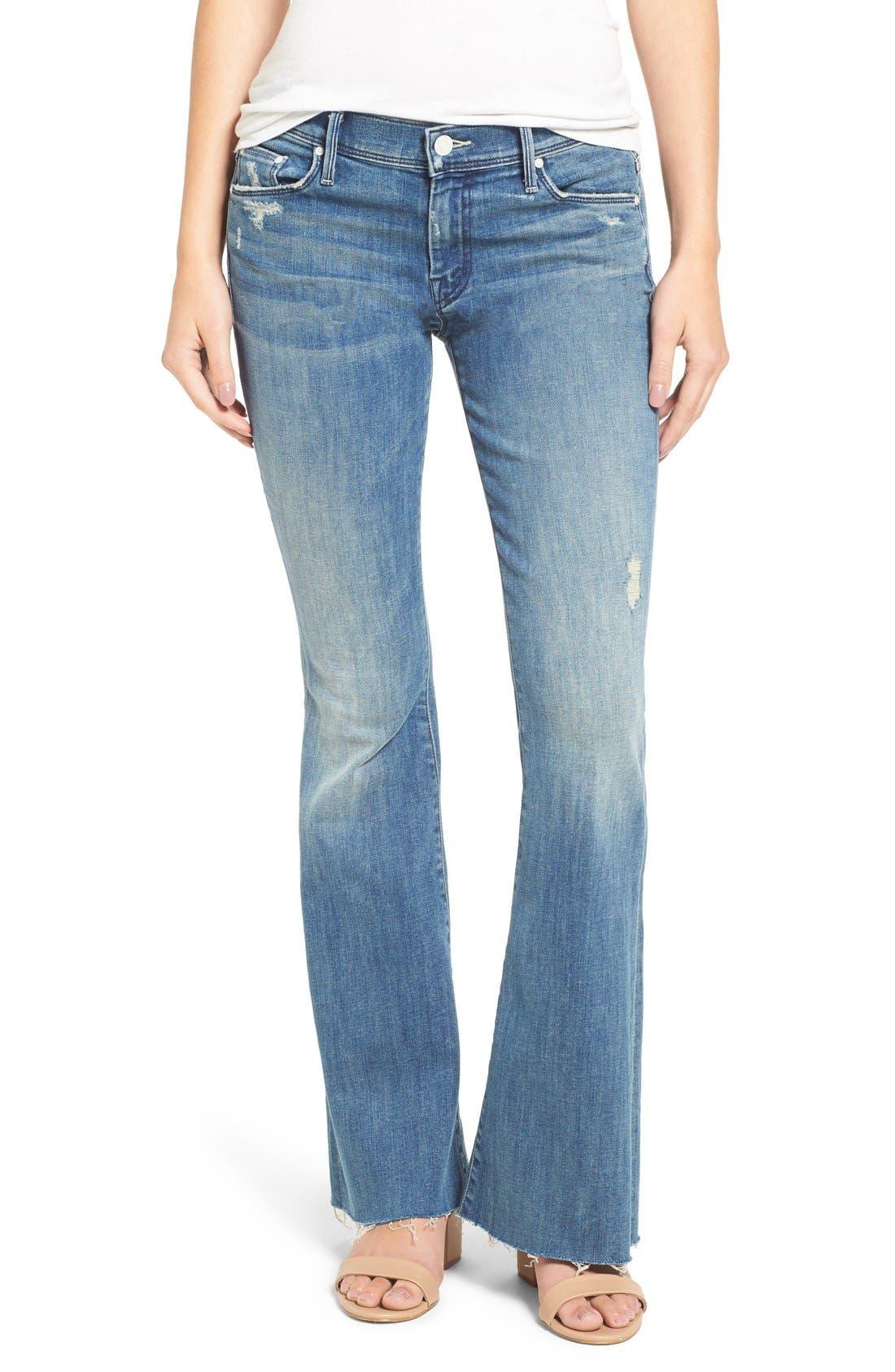 MOTHER, Raw Hem Flare Jeans, Alternate thumbnail 6, color, 420