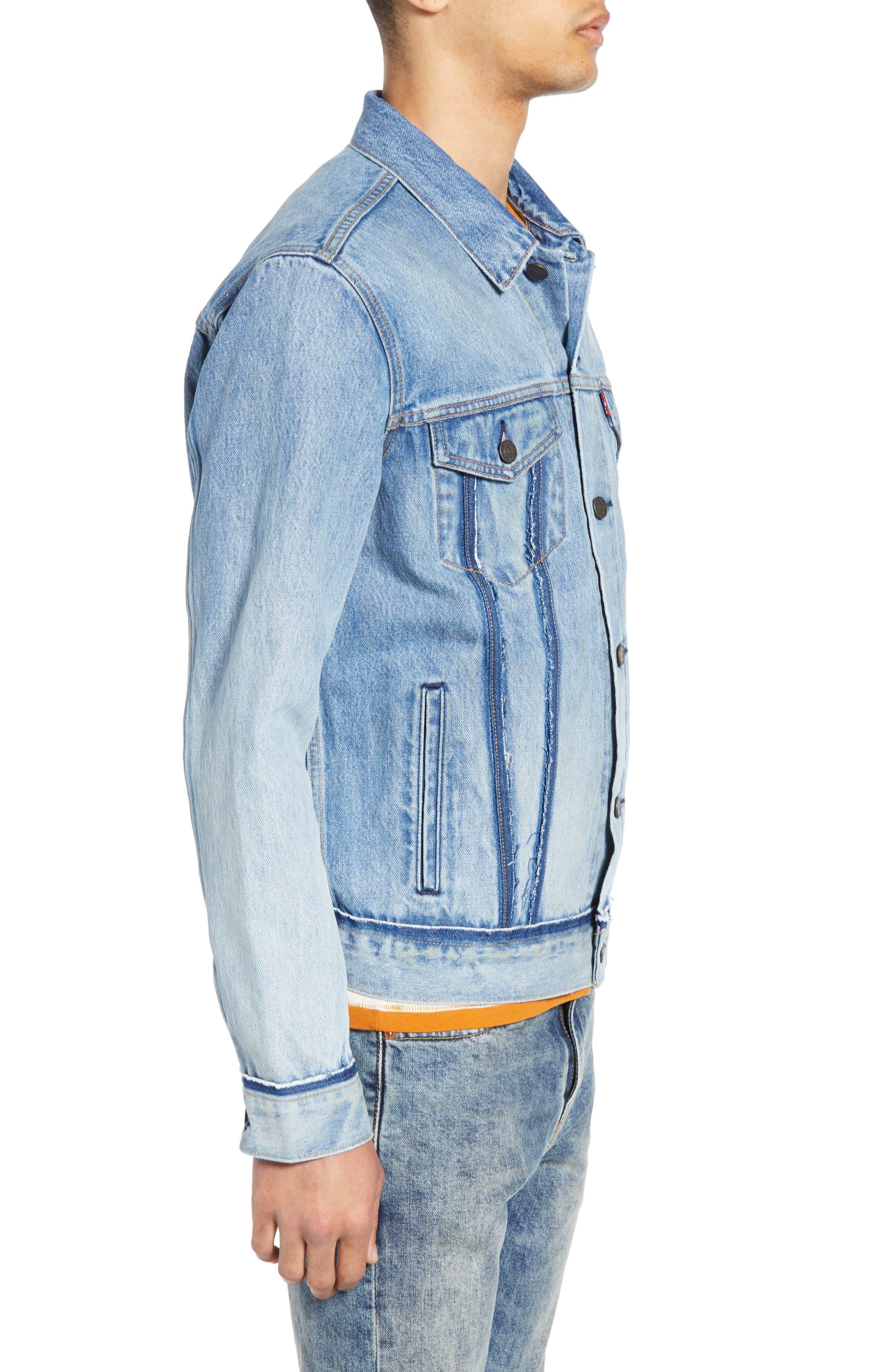 LEVI'S<SUP>®</SUP>, Denim Trucker Jacket, Alternate thumbnail 4, color, BECKER