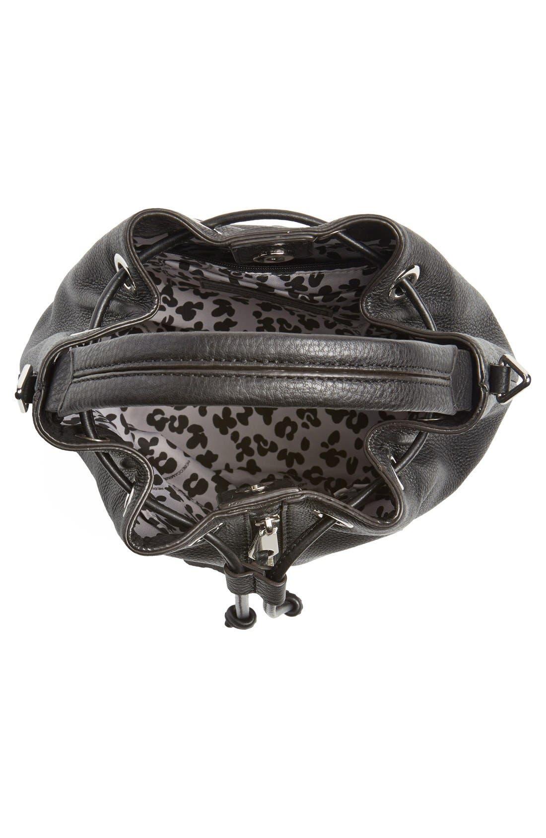 REBECCA MINKOFF, 'Moto' Bucket Bag, Alternate thumbnail 4, color, 001