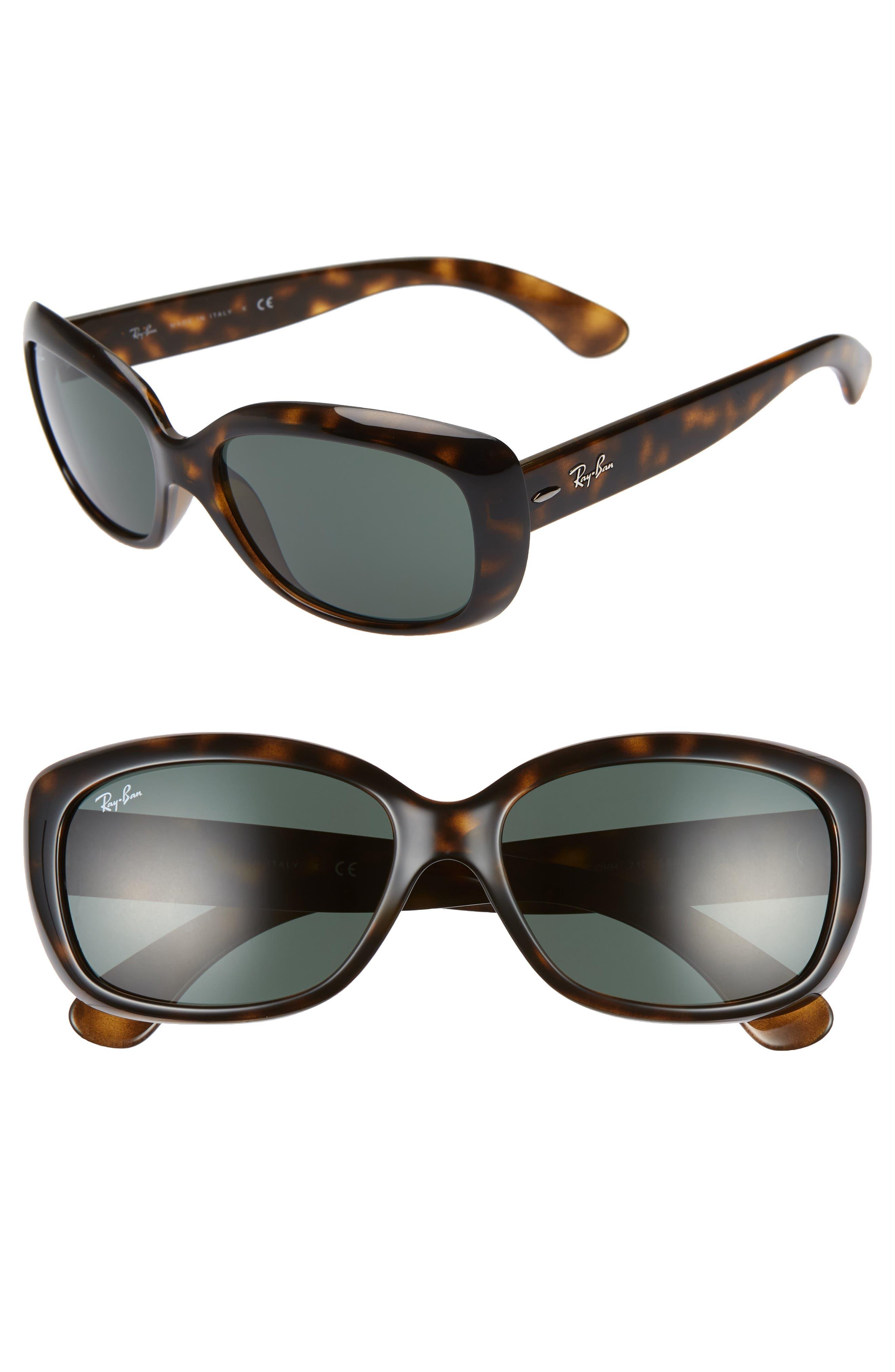RAY-BAN Jackie Ohh 58mm Cat Eye Sunglasses, Main, color, LITE HAVANA/ GREEN SOLID