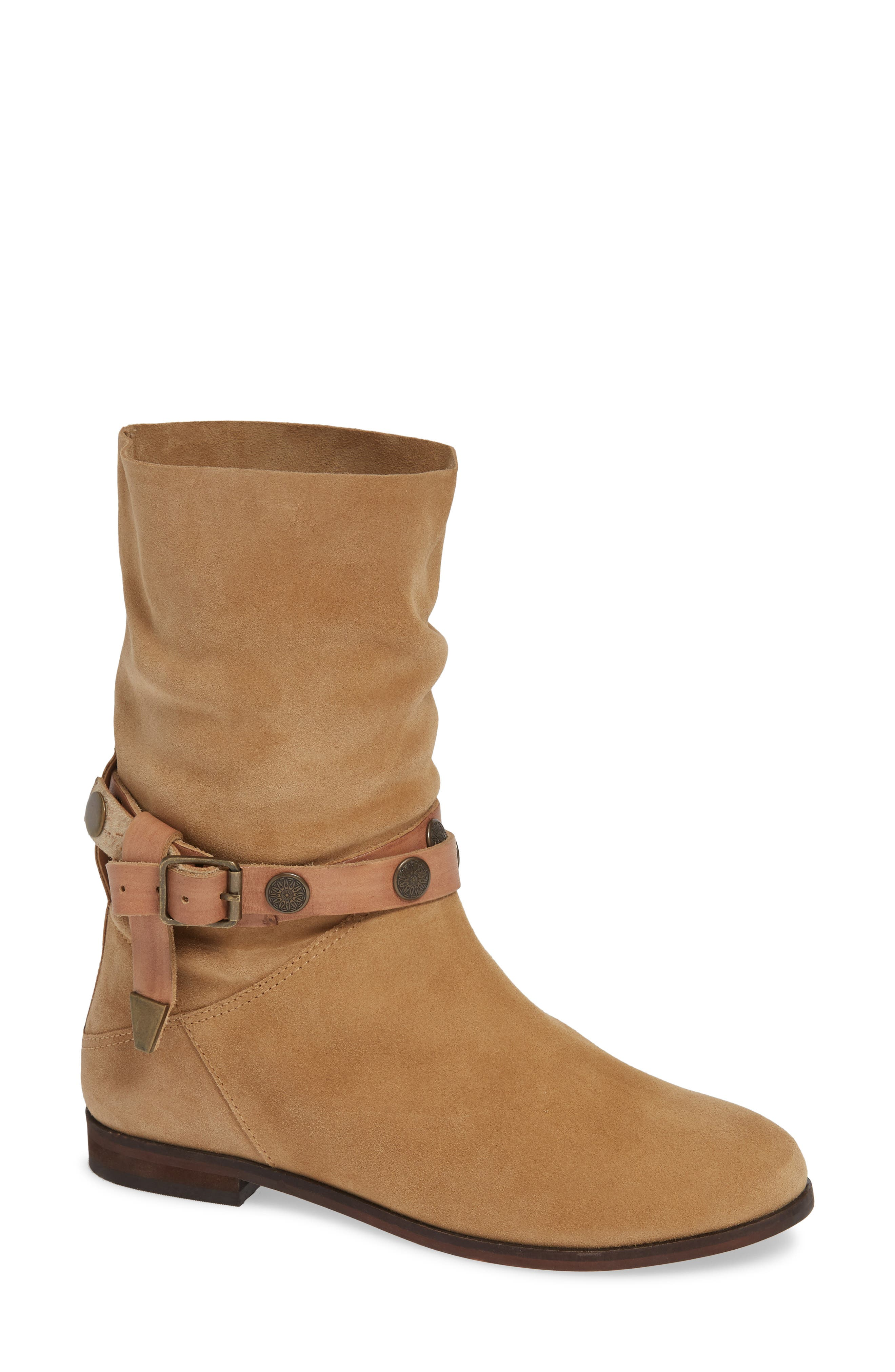 FREE PEOPLE Hayden Buckle Strap Boot, Main, color, SAND SUEDE