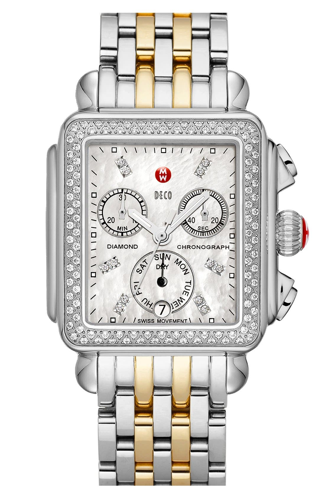 MICHELE, Deco 18mm Two-Tone Bracelet Watchband, Alternate thumbnail 5, color, SILVER/ GOLD