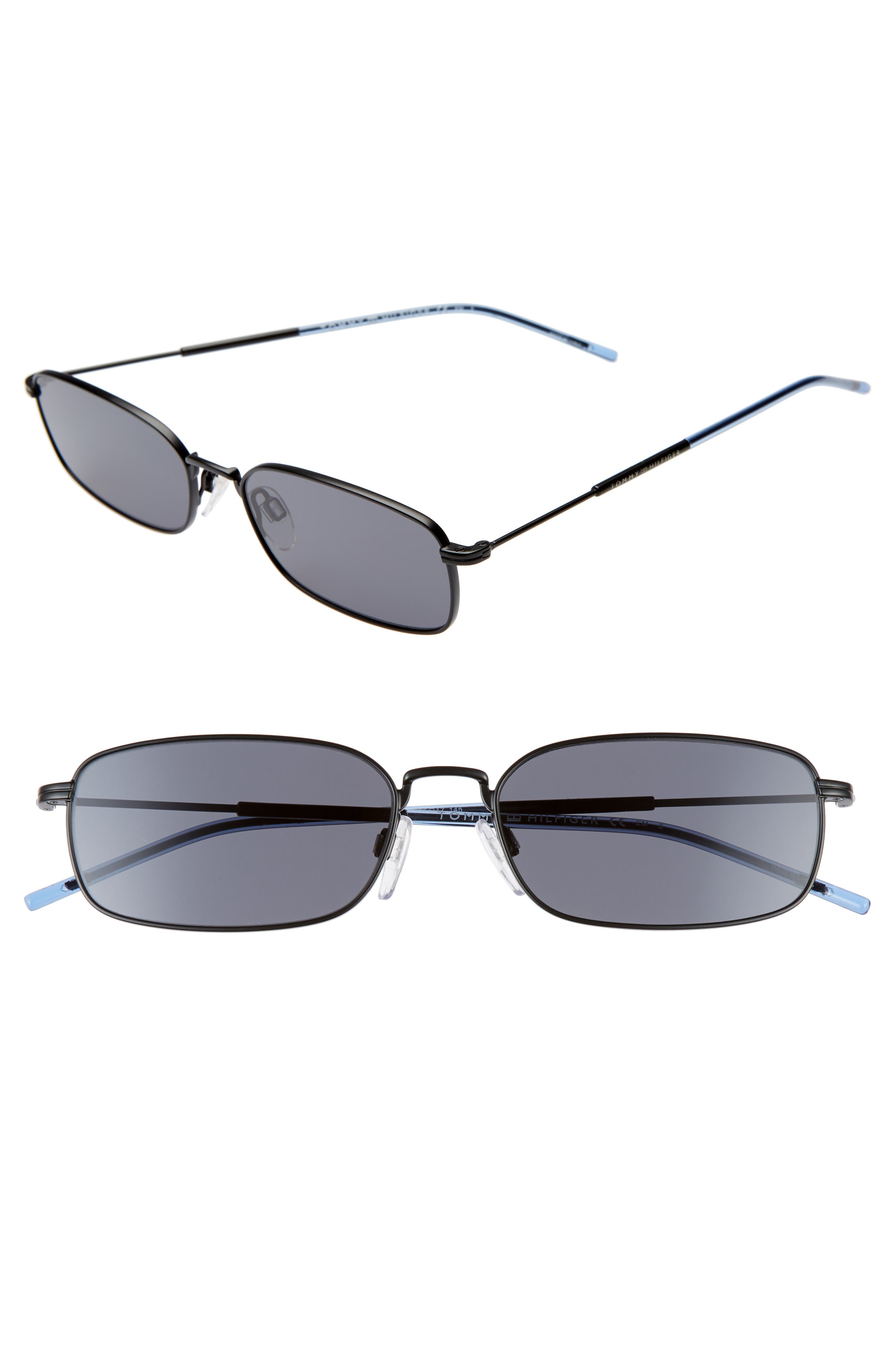 TOMMY HILFIGER, 55mm Rectangle Sunglasses, Main thumbnail 1, color, MATTE BLACK/ BLACK