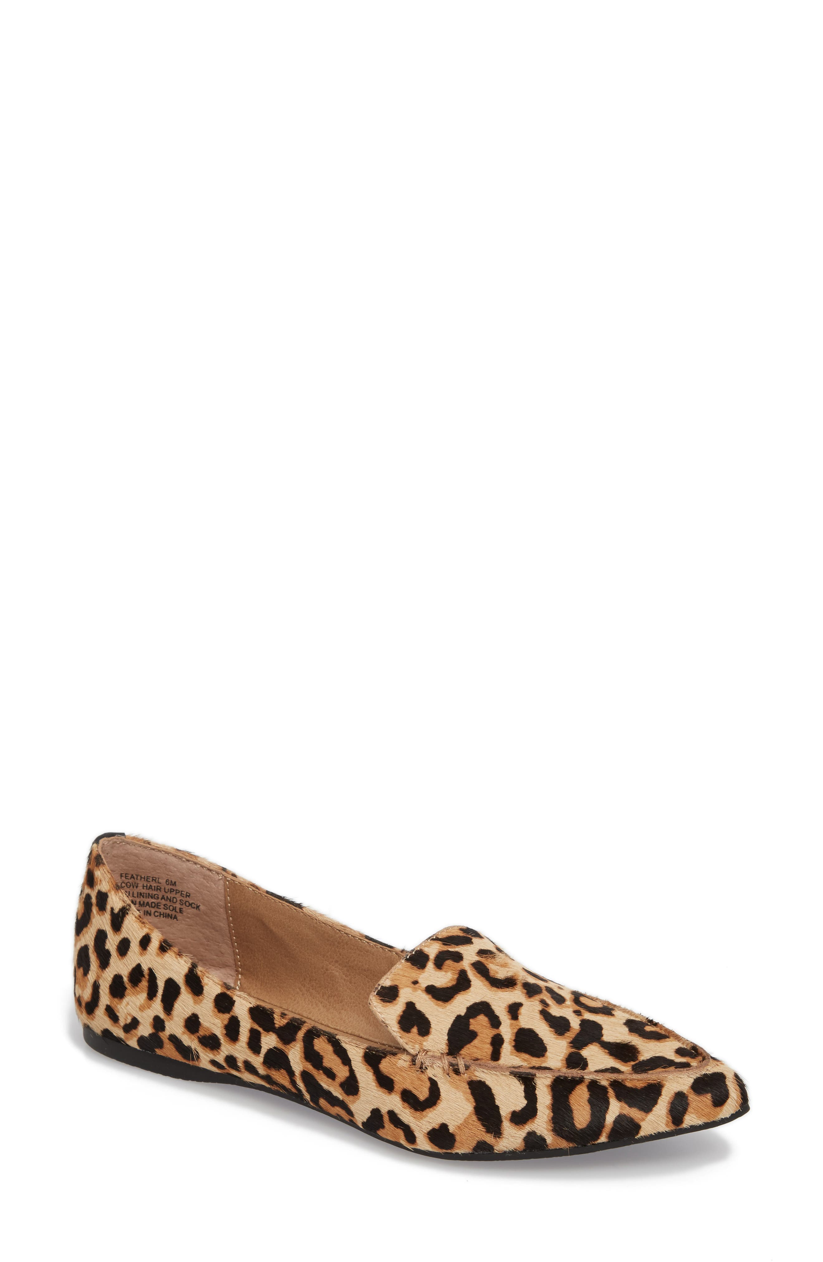 STEVE MADDEN, Feather-L Genuine Calf Hair Loafer Flat, Main thumbnail 1, color, LEOPARD