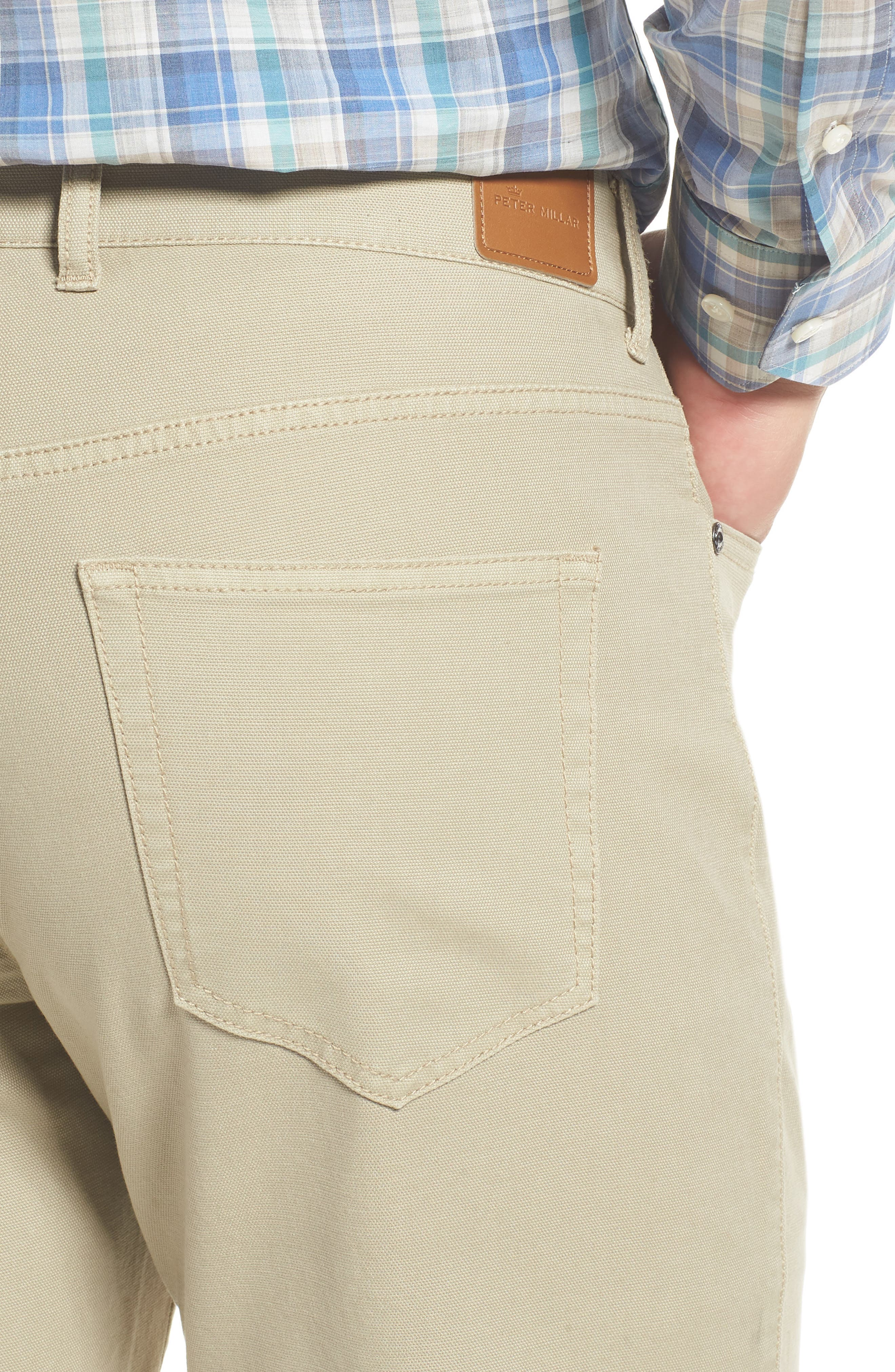 PETER MILLAR, Crown Vintage Canvas Pants, Alternate thumbnail 5, color, KHAKI