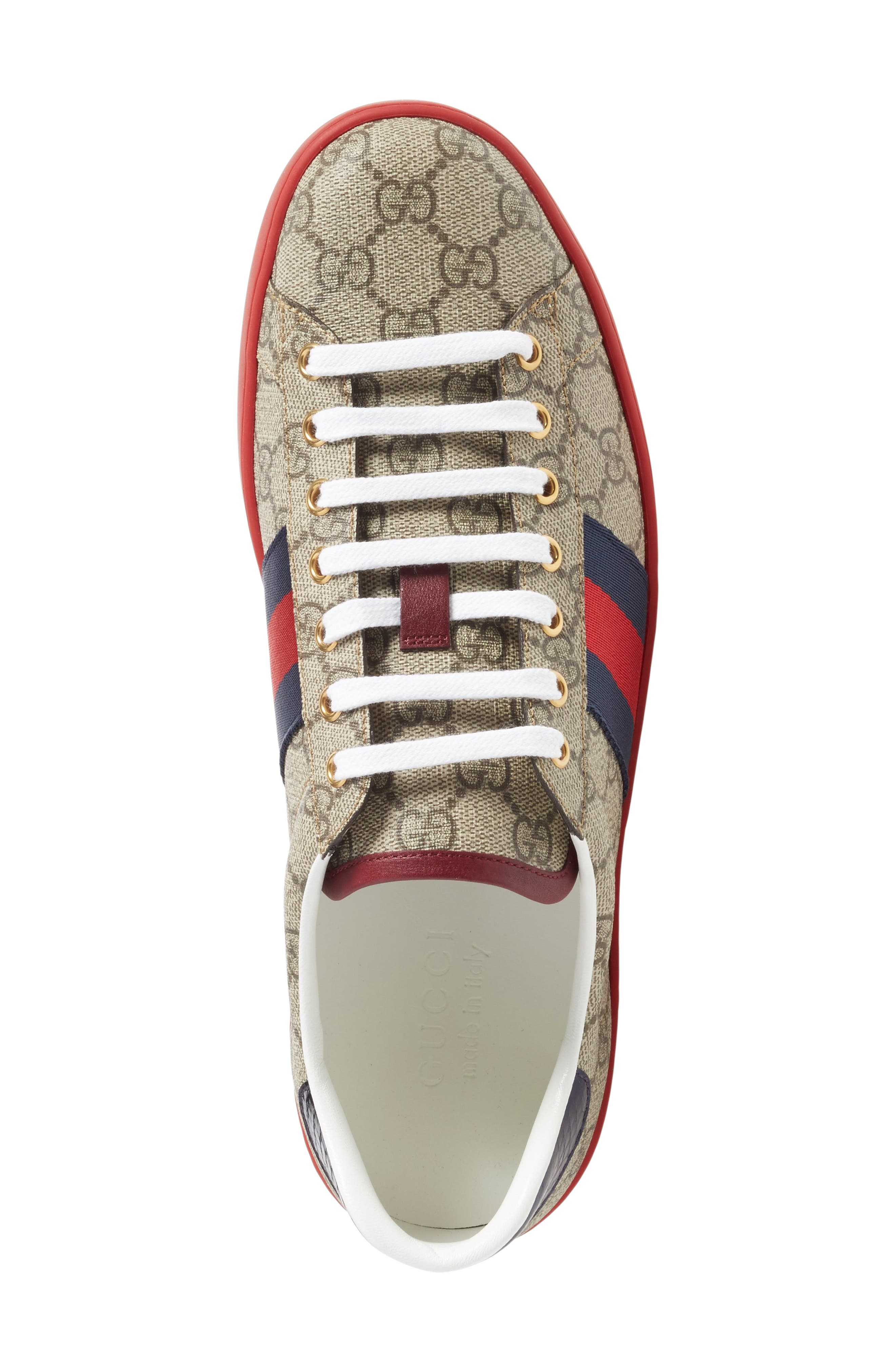 GUCCI, New Ace Webbed Low Top Sneaker, Alternate thumbnail 3, color, BEIGE