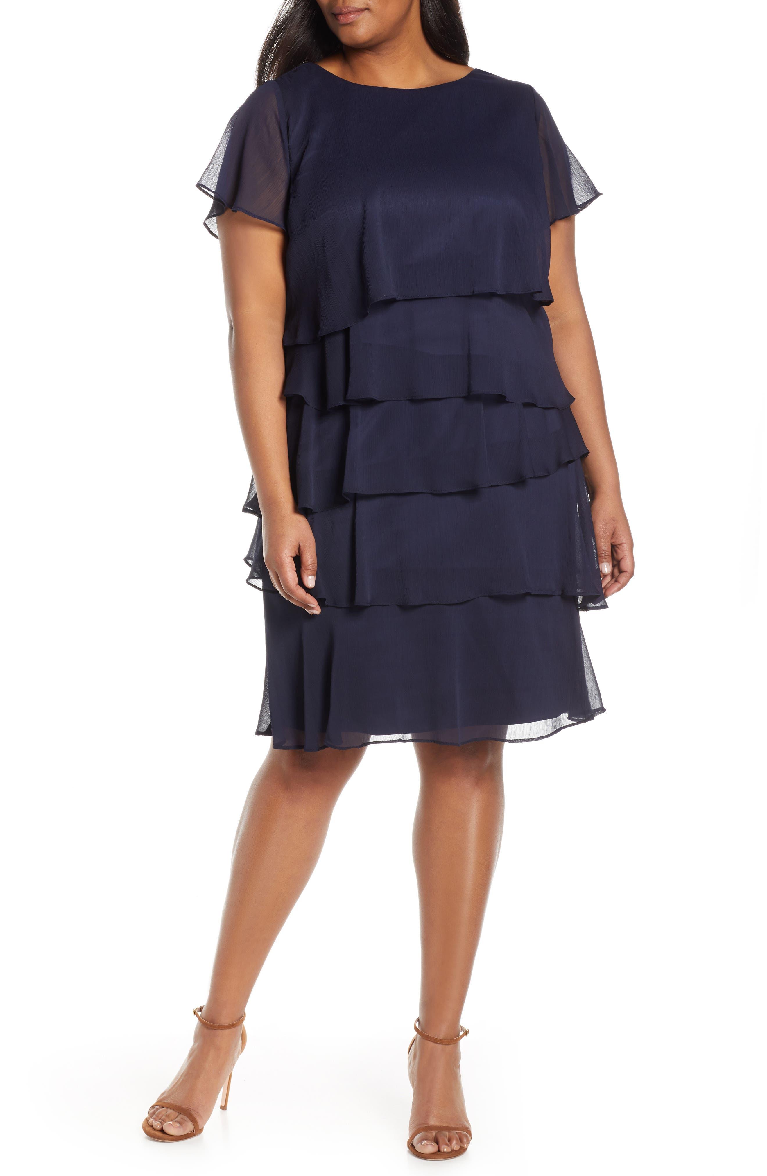 Plus Size Vintage Dresses, Plus Size Retro Dresses Plus Size Womens Tahari Tiered Ruffle Chiffon Shift Dress $148.00 AT vintagedancer.com