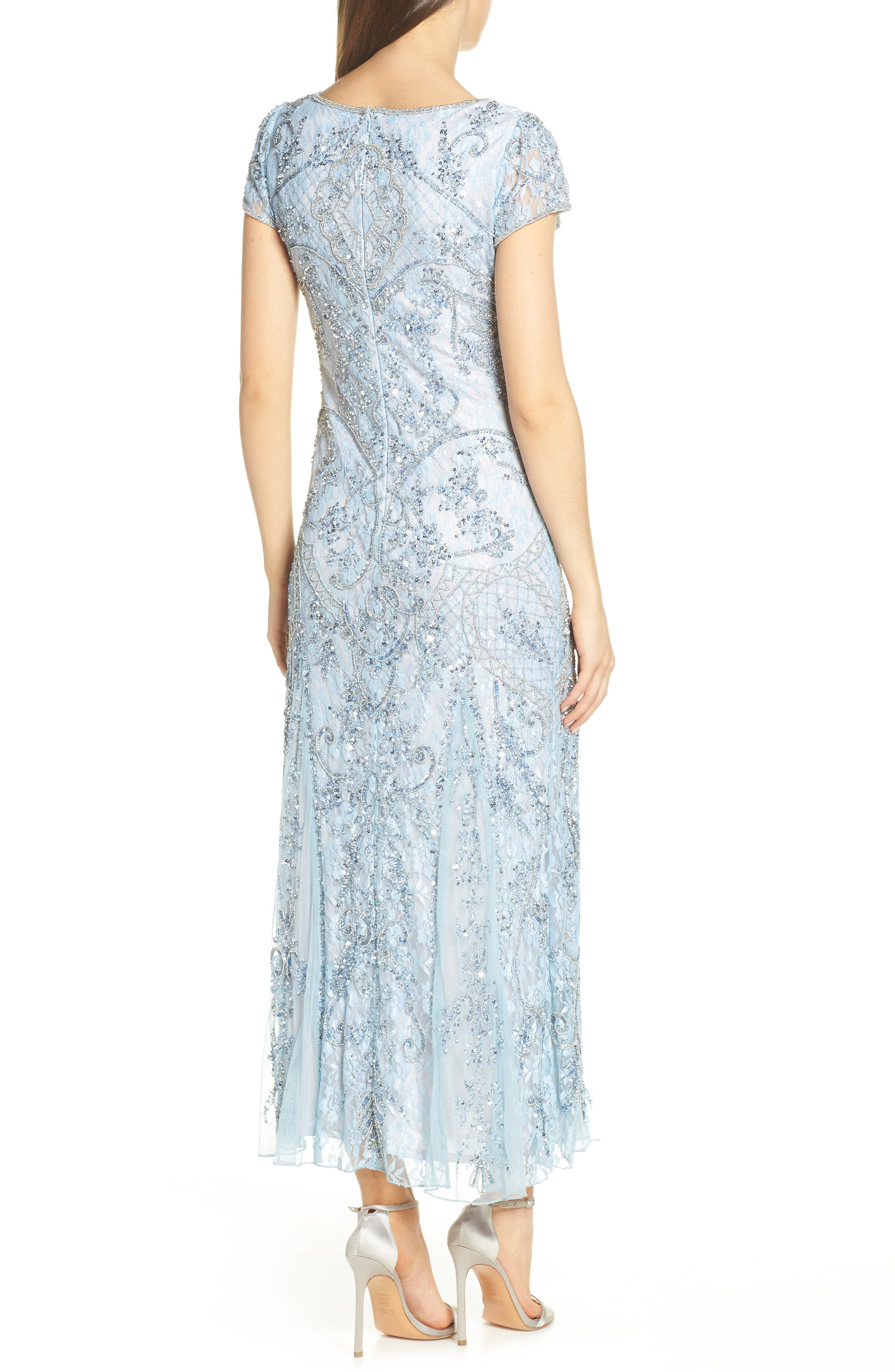 PISARRO NIGHTS, Embellished Lace Gown, Alternate thumbnail 2, color, SKY BLUE