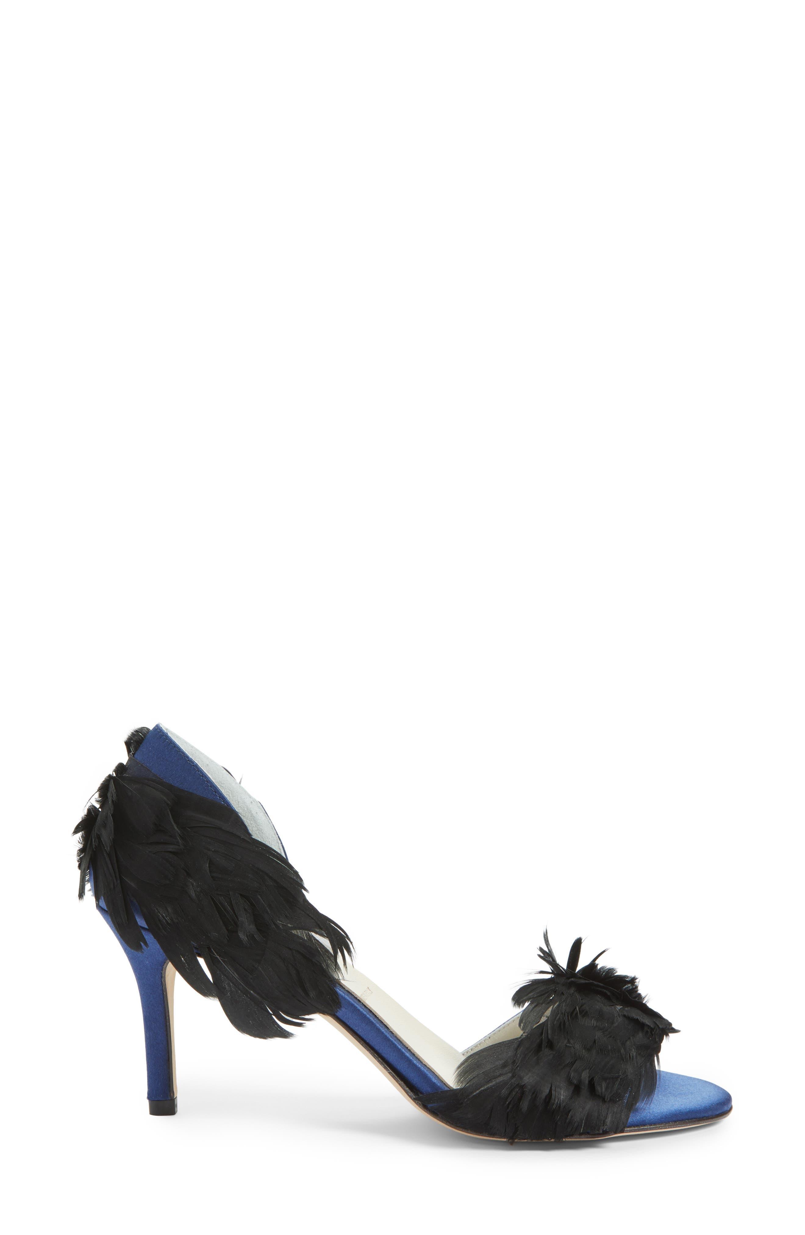 SOMETHING BLEU, Gigi d'Orsay Sandal, Alternate thumbnail 3, color, NAVY SATIN