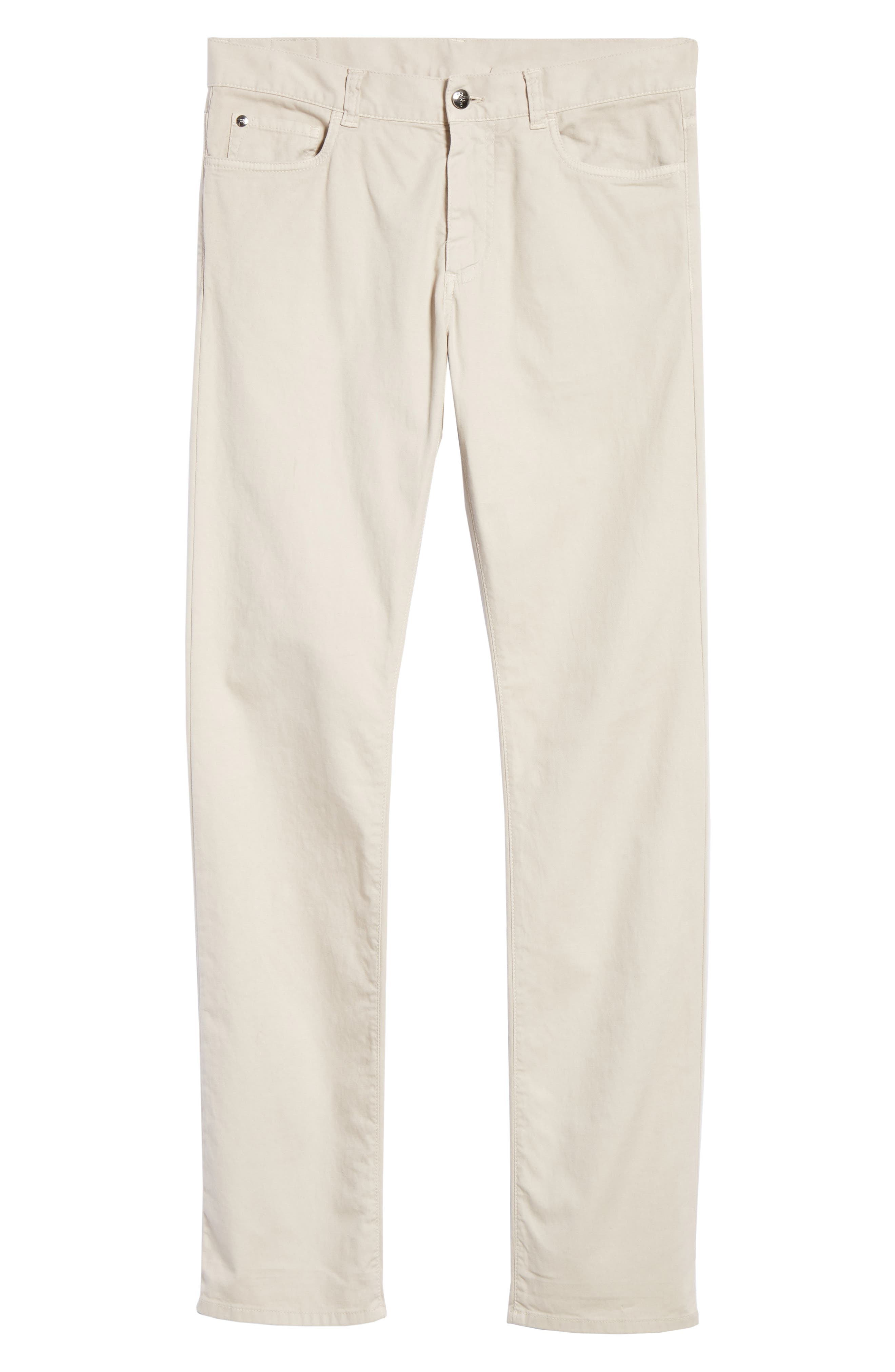 CANALI, Stretch Cotton Five Pocket Trousers, Alternate thumbnail 7, color, BEIGE