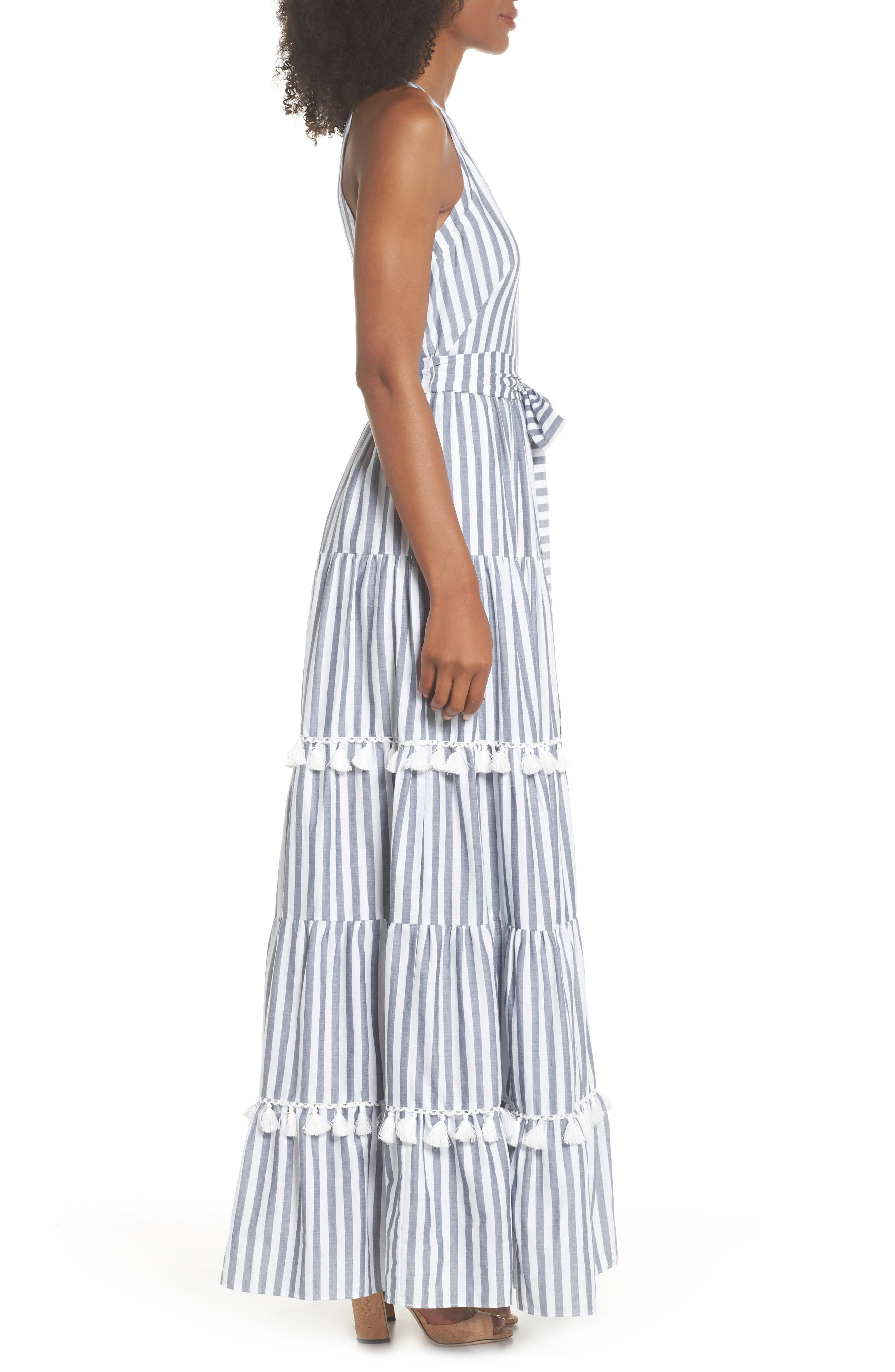 ELIZA J, Tiered Tassel Fringe Cotton Maxi Dress, Alternate thumbnail 4, color, IVORY/ GREY