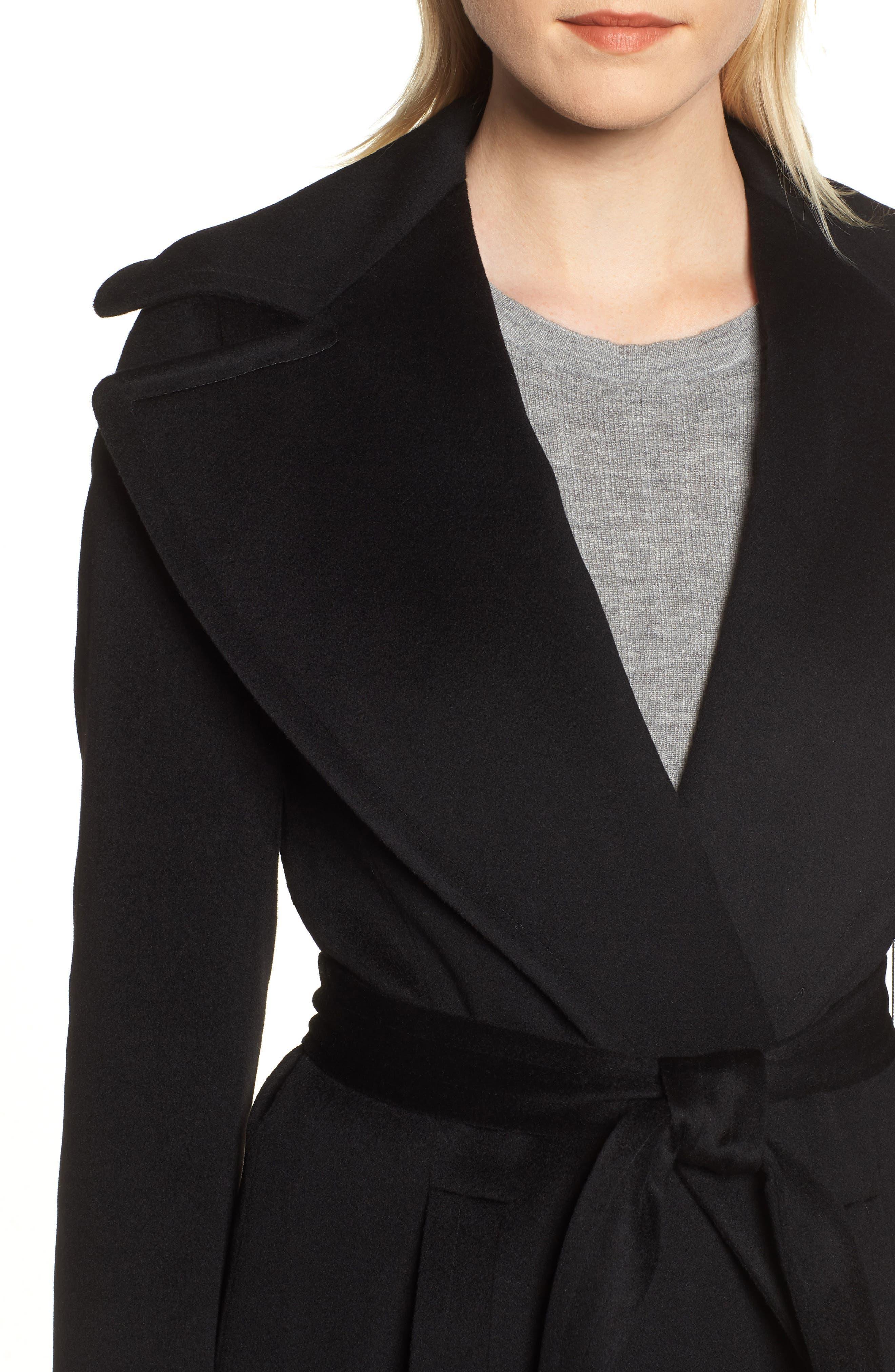 FLEURETTE, Loro Piana Wool Wrap Coat, Alternate thumbnail 5, color, 001