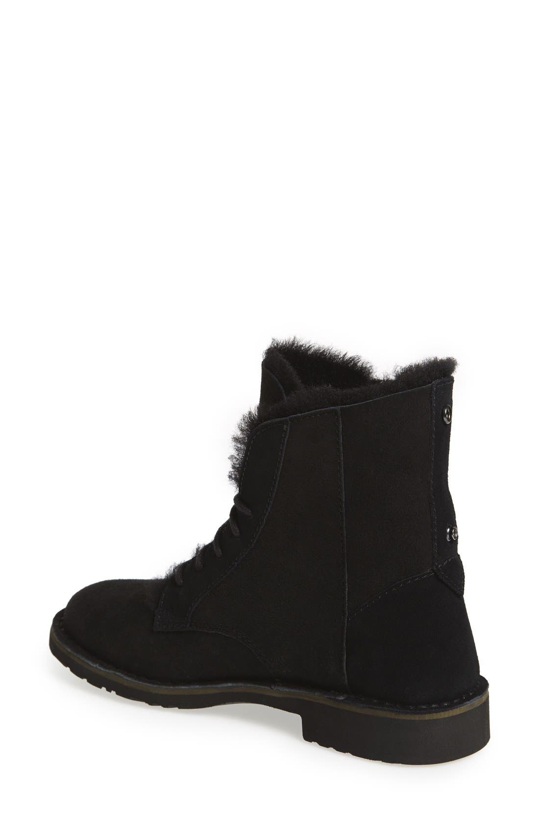 UGG<SUP>®</SUP>, Quincy Boot, Alternate thumbnail 4, color, BLACK SUEDE