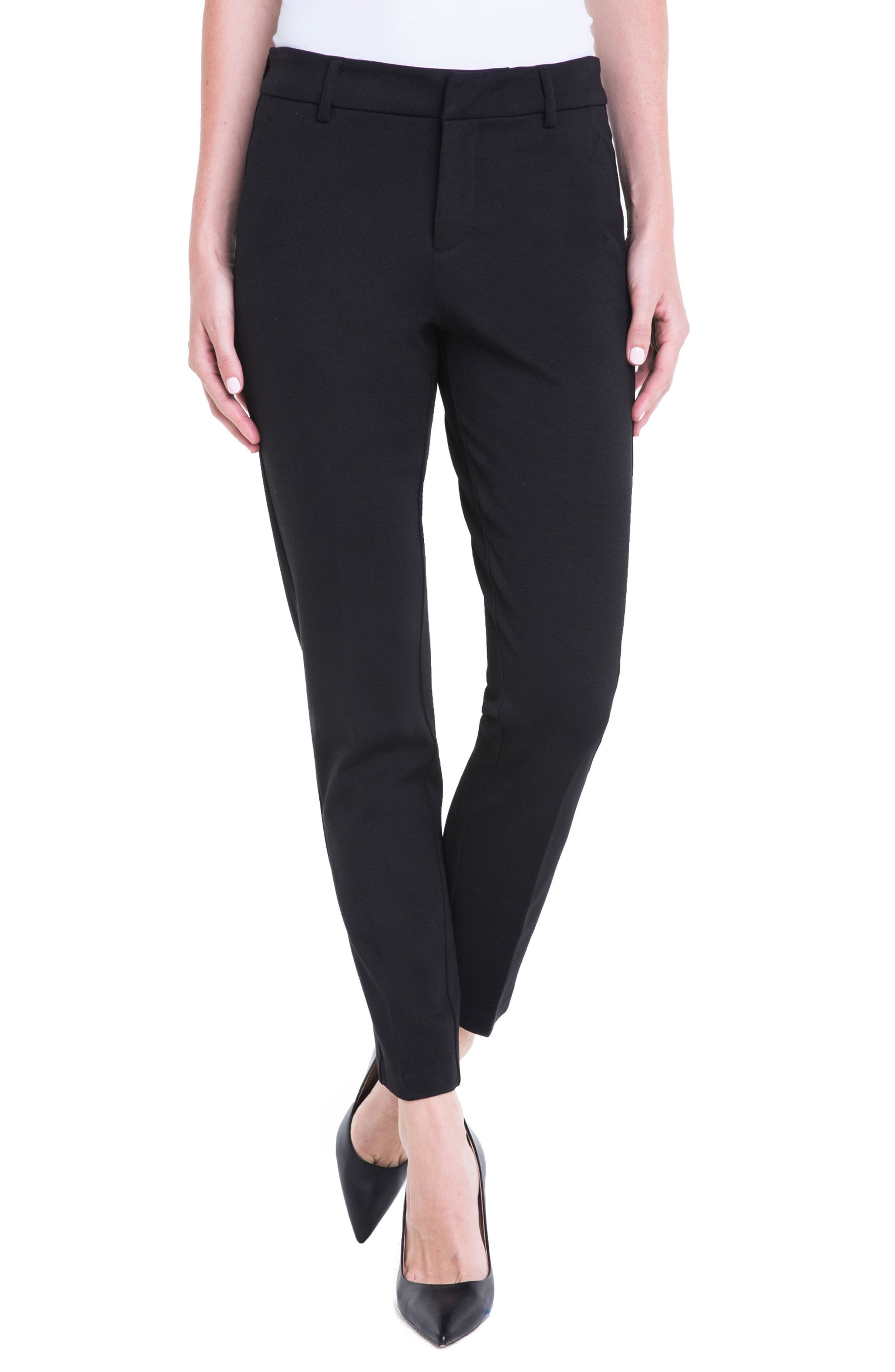 LIVERPOOL, Kelsey Knit Trousers, Main thumbnail 1, color, BLACK
