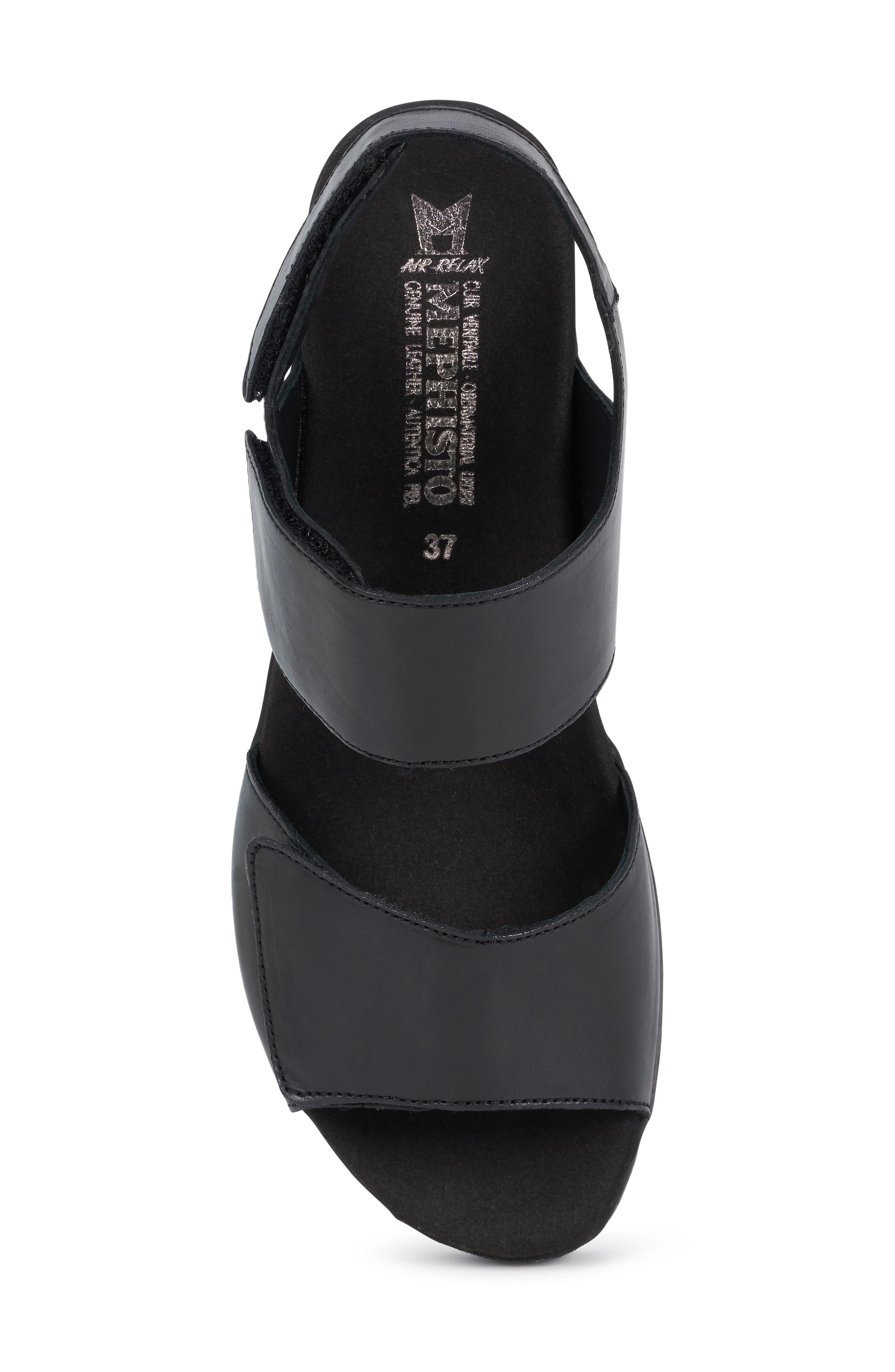 MEPHISTO, Engelina Wedge Sandal, Alternate thumbnail 5, color, BLACK SILK LEATHER
