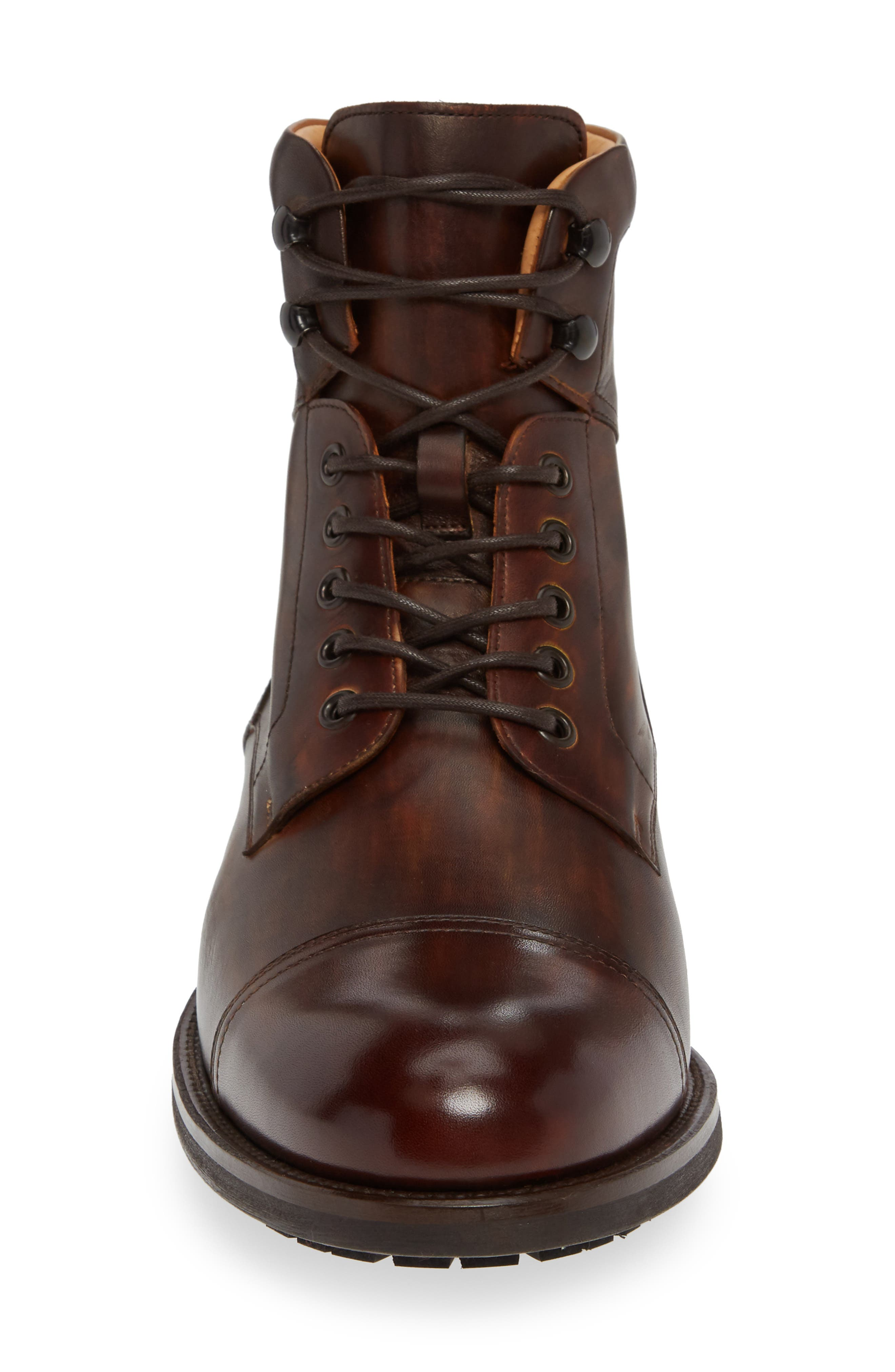 MAGNANNI, Peyton Cap Toe Boot, Alternate thumbnail 4, color, TOBACCO LEATHER