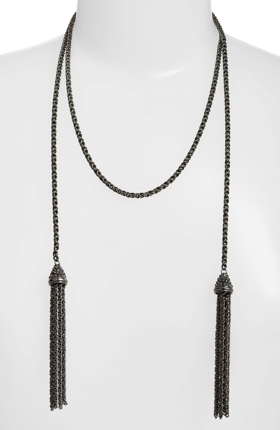 KENDRA SCOTT, 'Jake' Lariat Pendant Necklace, Alternate thumbnail 2, color, 001