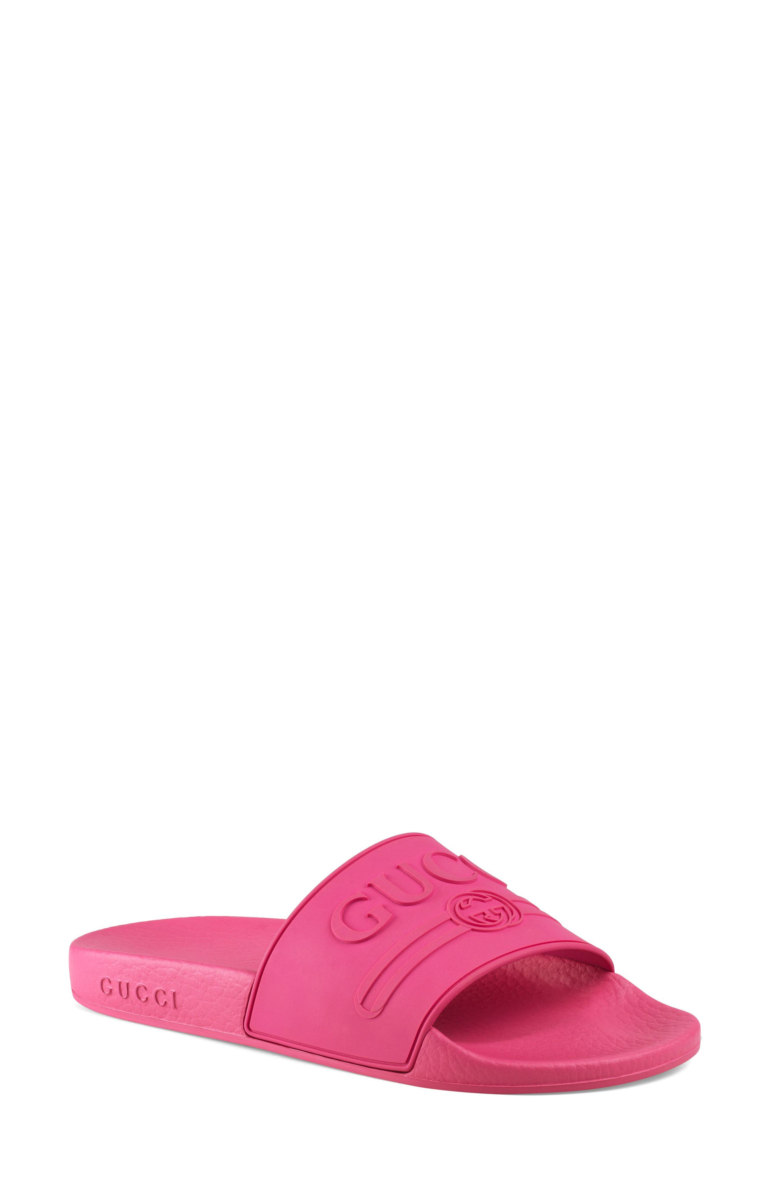 GUCCI, Pursuit Logo Slide Sandal, Main thumbnail 1, color, FUCHSIA