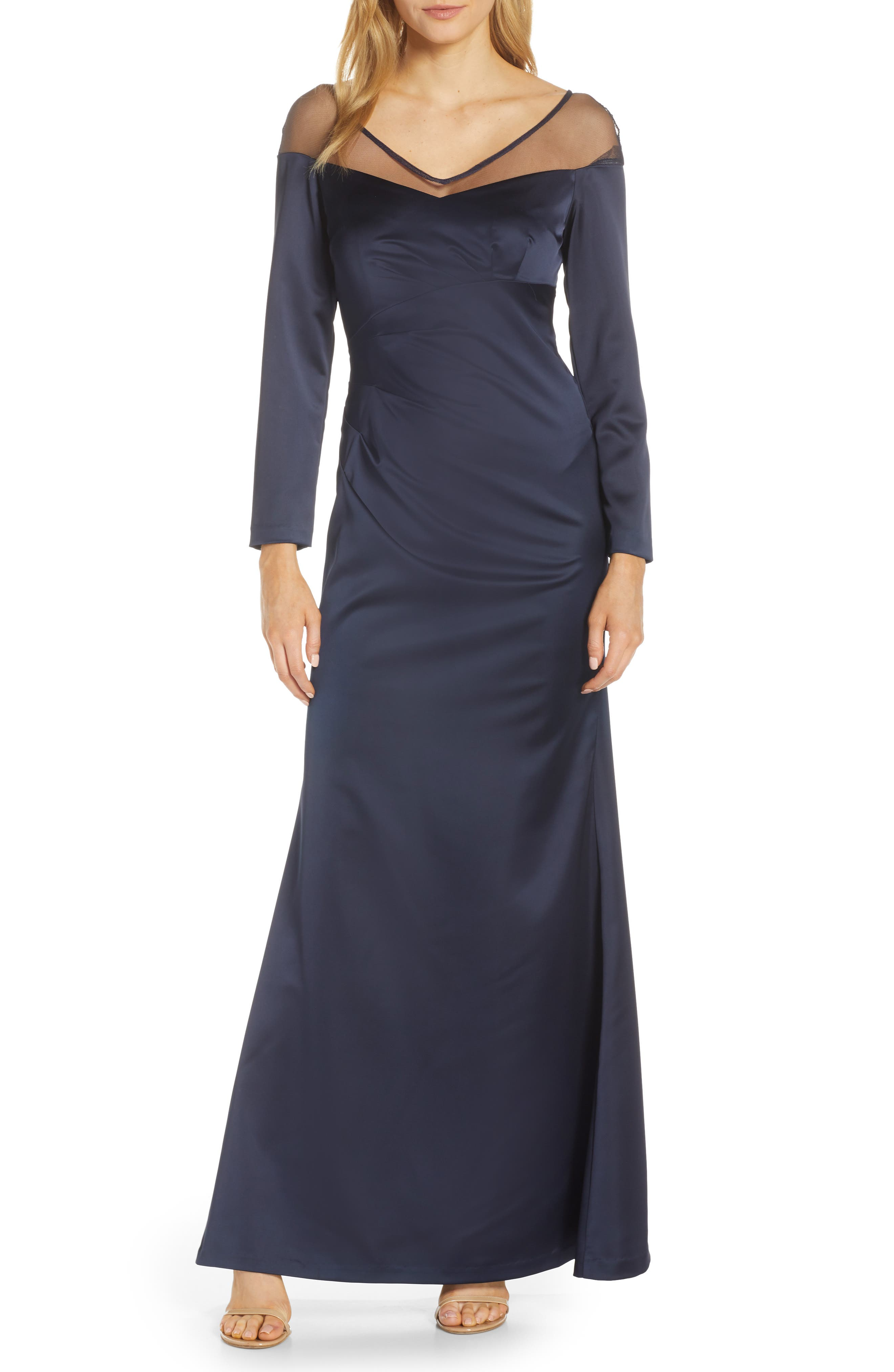 Adrianna Papell Long Sleeve Illusion Off The Shoulder Satin Gown, Blue