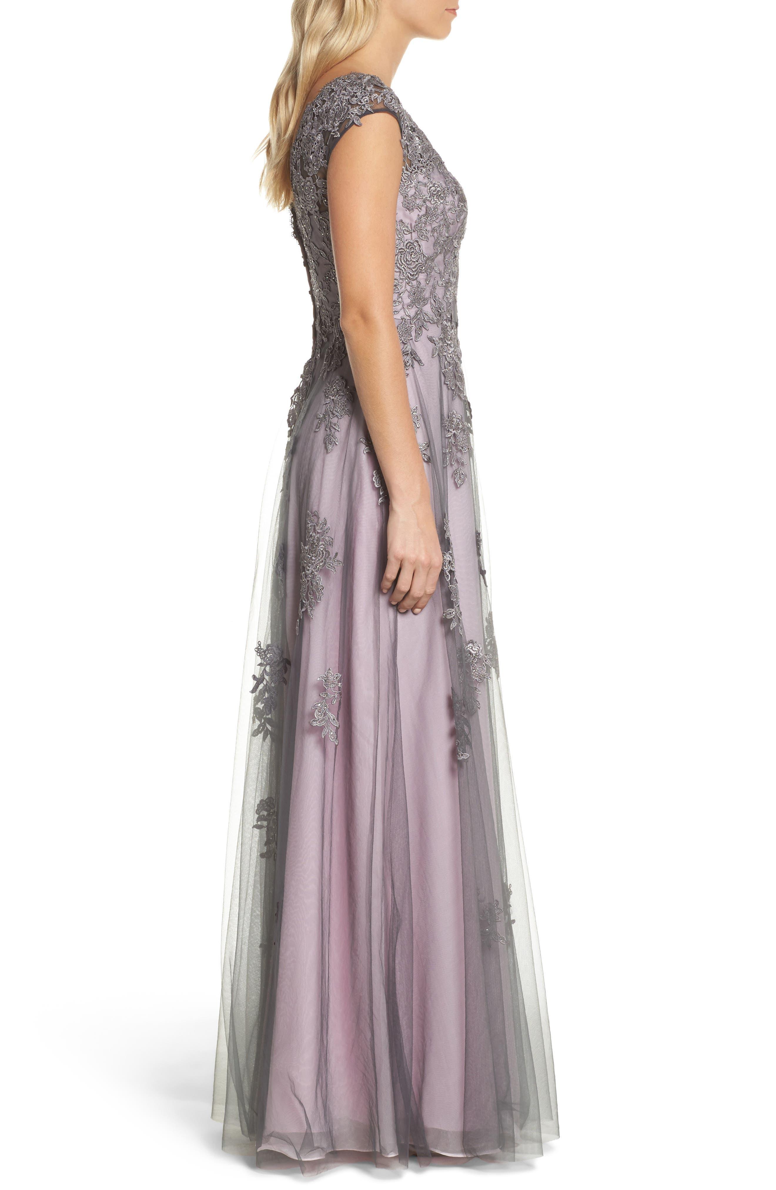 LA FEMME, Embellished Mesh A-Line Gown, Alternate thumbnail 3, color, PINK/ GRAY