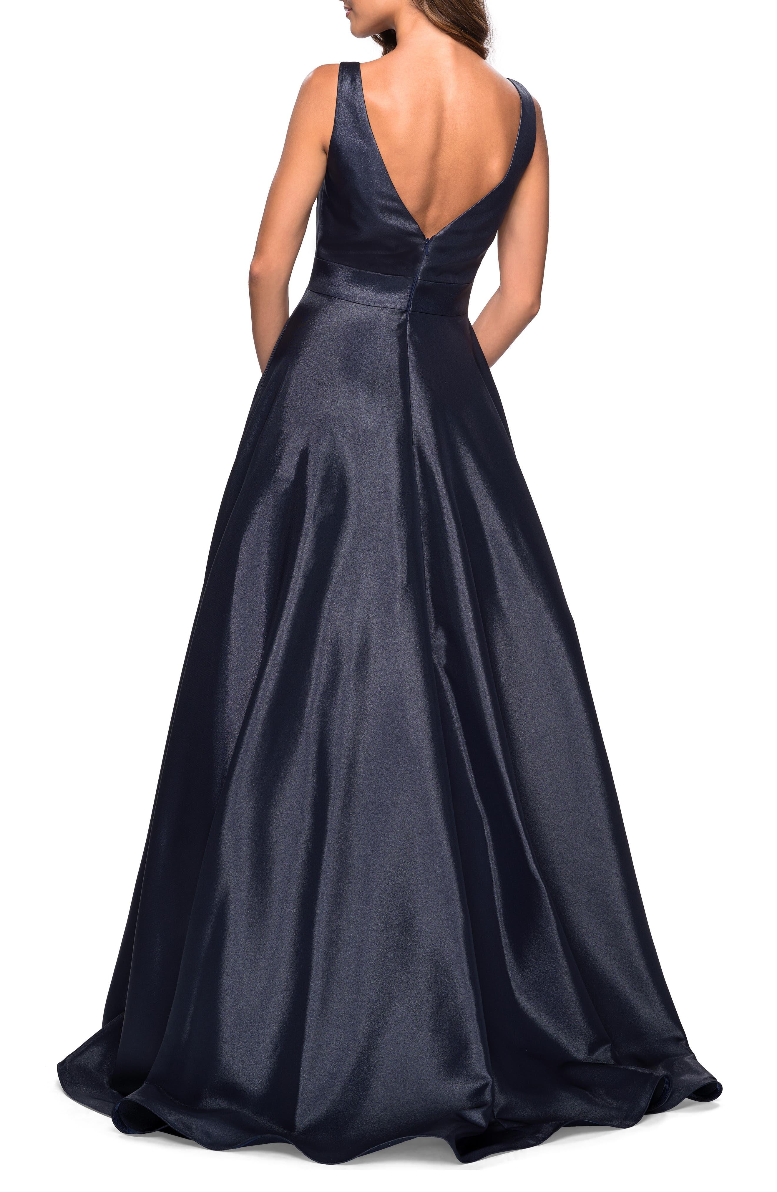 LA FEMME, Mikado Evening Dress, Alternate thumbnail 2, color, NAVY