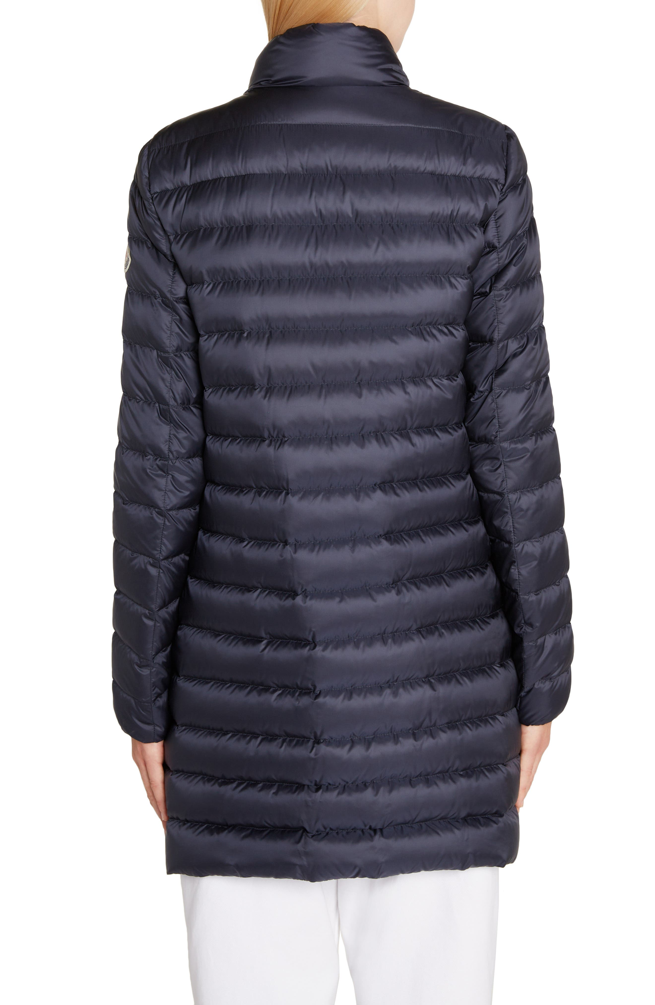 MONCLER, Quilted Down Coat, Alternate thumbnail 3, color, NAVY